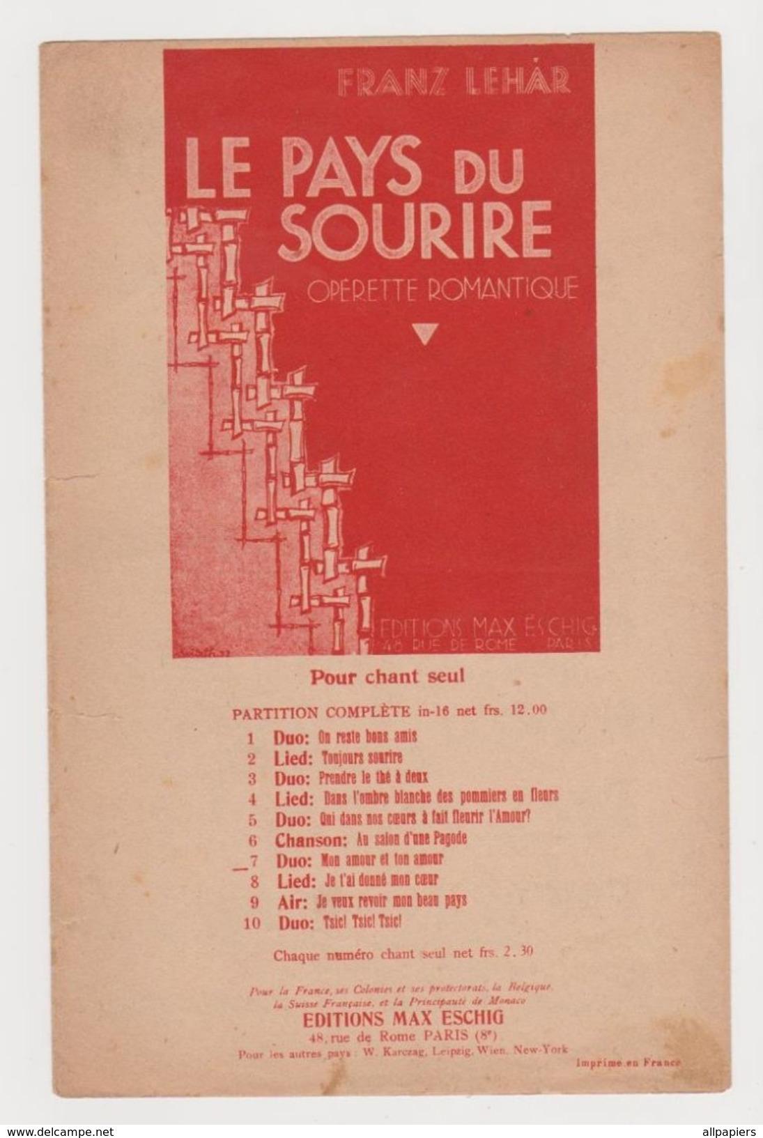 Partition Le Pays Du Sourire Opérette Romantique Par Franz Lehar De 1932 - Opéra