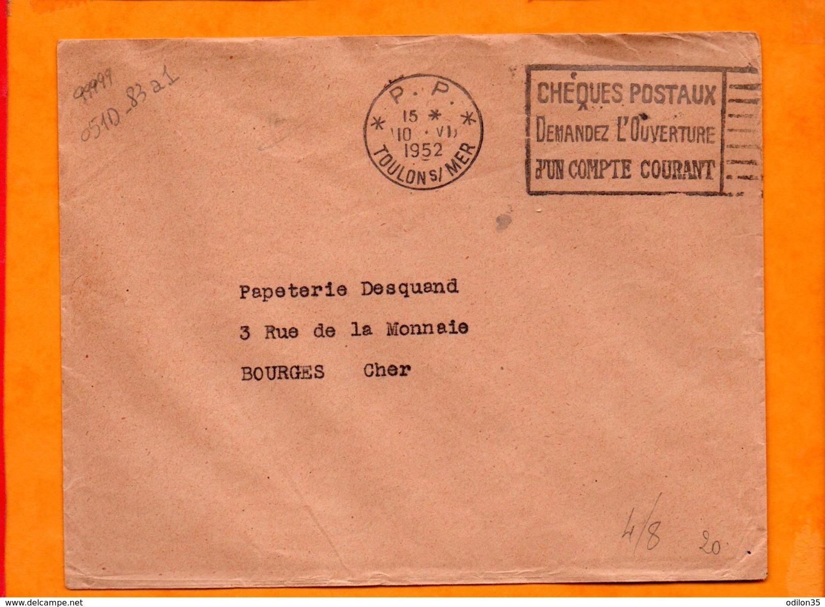 VAR, Toulon, Flamme à Texte, Cheques Postaux, Demandez L'ouverture D'un Compte - Postmark Collection (Covers)
