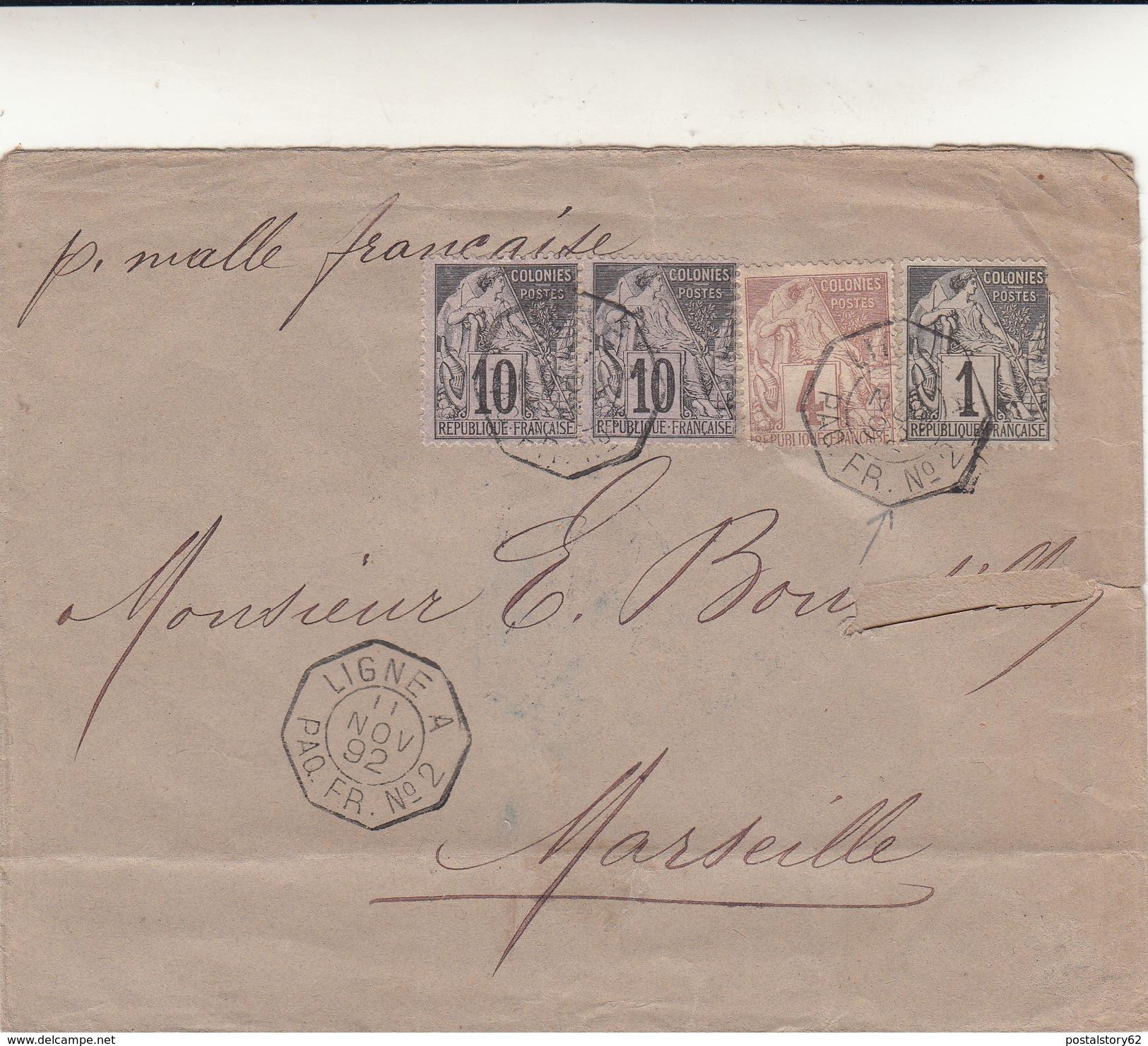 Saint Pierre Martinique To Marseille. Cover Avec Timbres Ligne A Paq. Fr. N°2 Anno 1892 - France (ex-colonies & Protectorats)