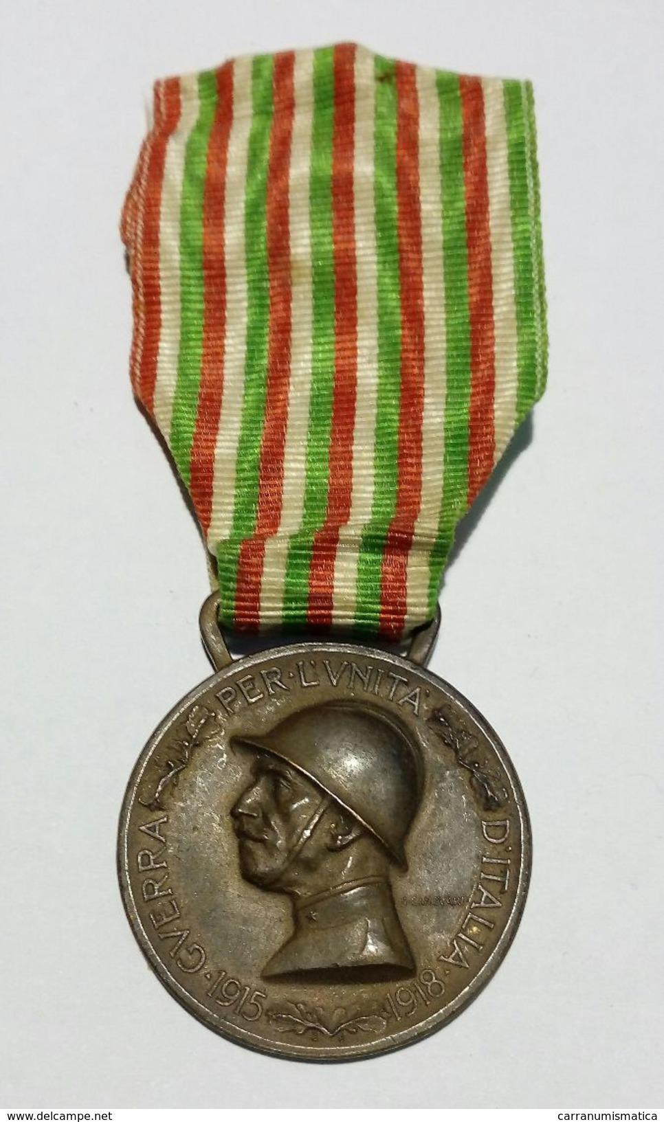 WWI - MEDAGLIA - GUERRA ITALO - AUSTRIACA (1915-1918) Bronzo Nemico / Nastro Originale - Italia