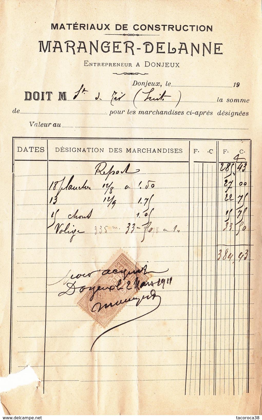 DONJEUX  -Matériaux De Construction MARANGER-DELANNE - Facture De 1911 - 3 - Sonstige