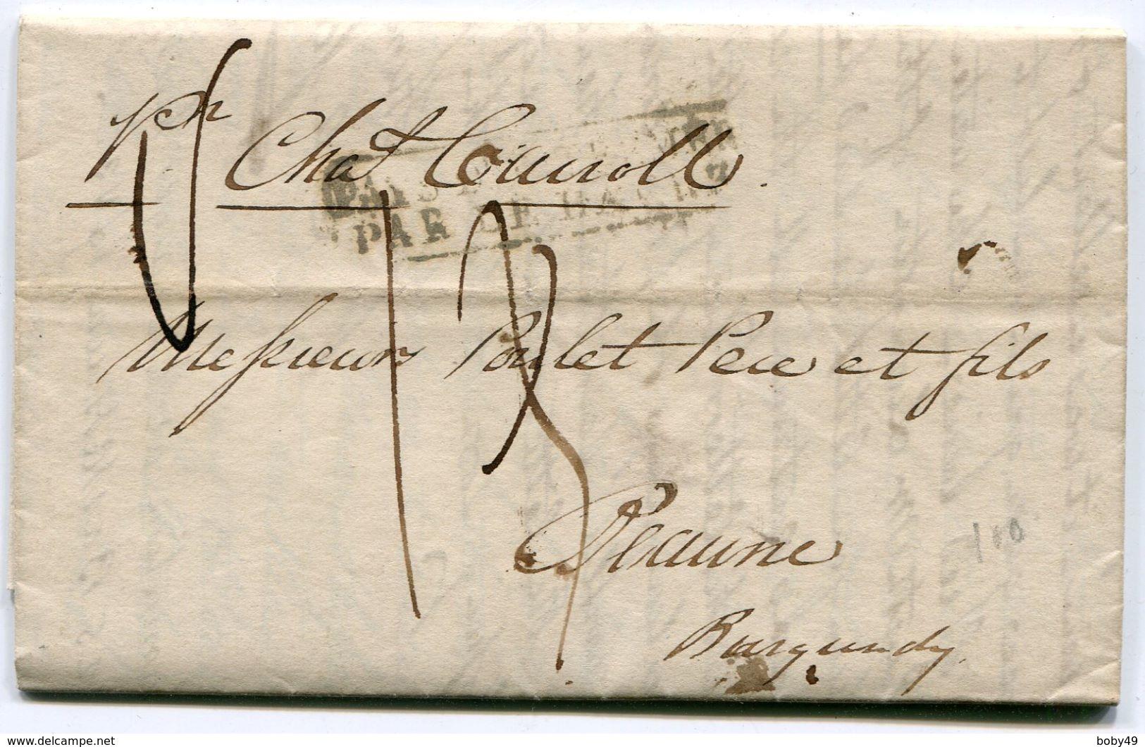 NEW YORK LAC Du 31/05/1836 Pour BEAUNE Avec Marque D'entrée PAYS D OUTREMER PAR LE HAVRE - Postmark Collection (Covers)