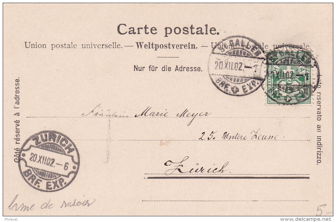 S.Maria Del Angioli A Lugano ( Luini ) - 1902 - Cachet Lame De Rasoir De Zürich - TI Tessin