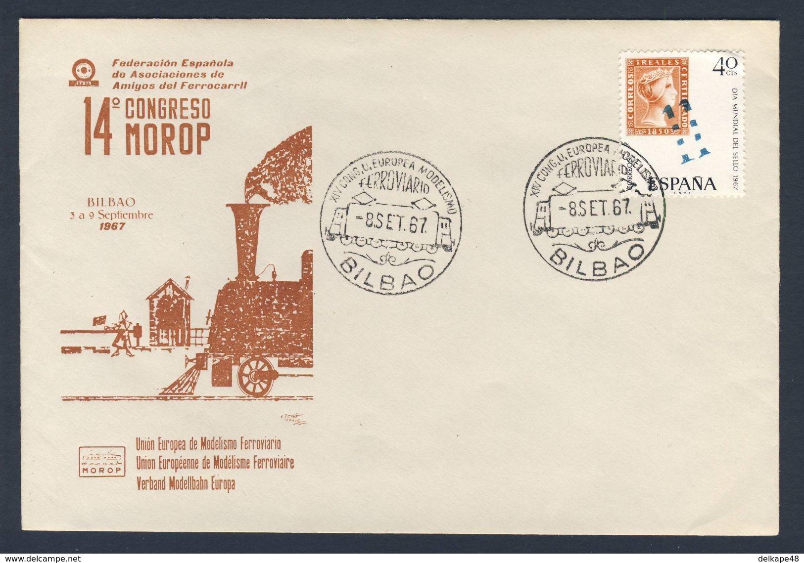 Spain Espana 1967 Cover / Brief / Lettre - XIV Congress  MOROP, 3-9 Set. 1967 Bilbao / Schienenmodellierung - Treinen