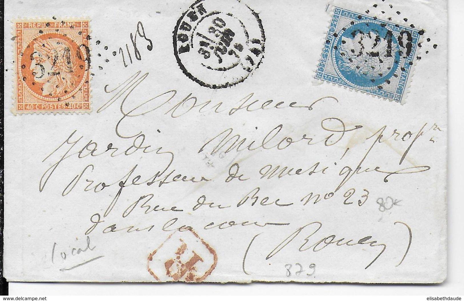 1875 - SIEGE + CERES Sur LETTRE RECOMMANDEE LOCALE De ROUEN (SEINE INFERIEURE) - Postmark Collection (Covers)