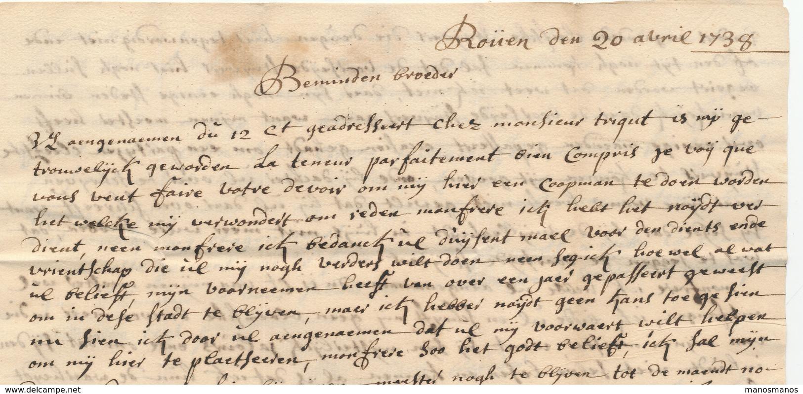 """763/25 - Lettre Manuscrit """" De Rouen """" ROUEN 1738 Vers GAND - Signée Tollens - Port à L'encre 6 Stuivers - Marcophilie (Lettres)"""