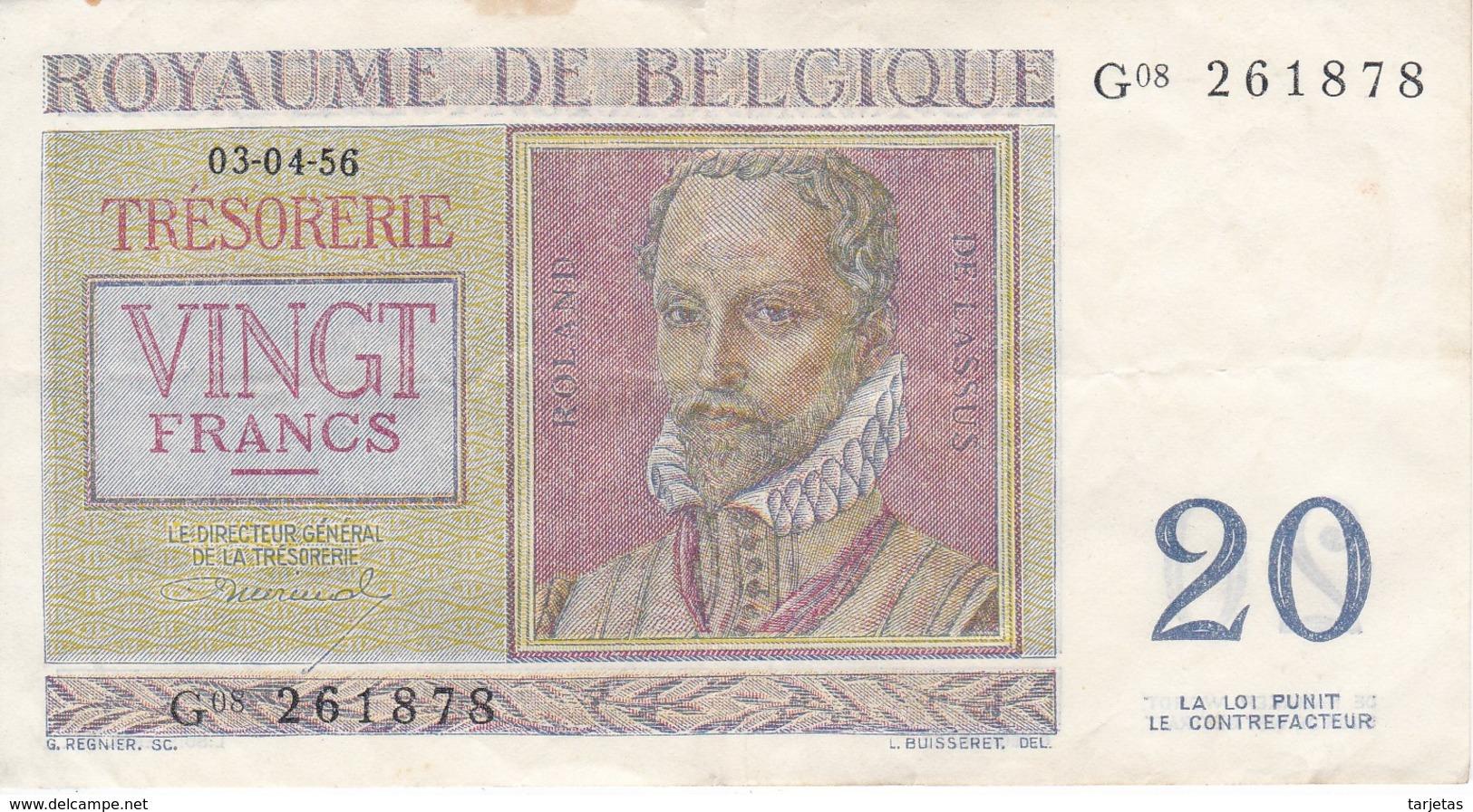 BILLETE DE BELGICA DE 20 FRANCOS DEL AÑO 1956  (BANKNOTE) - 20 Francos