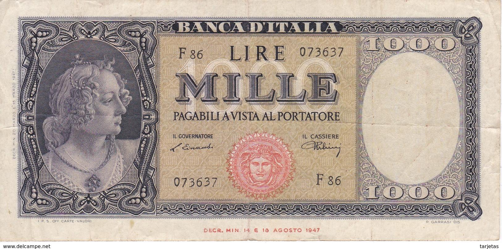 BILLETE DE ITALIA DE 1000 LIRAS DEL 20 DE MARZO DE 1947  (BANKNOTE) - [ 2] 1946-… Republik