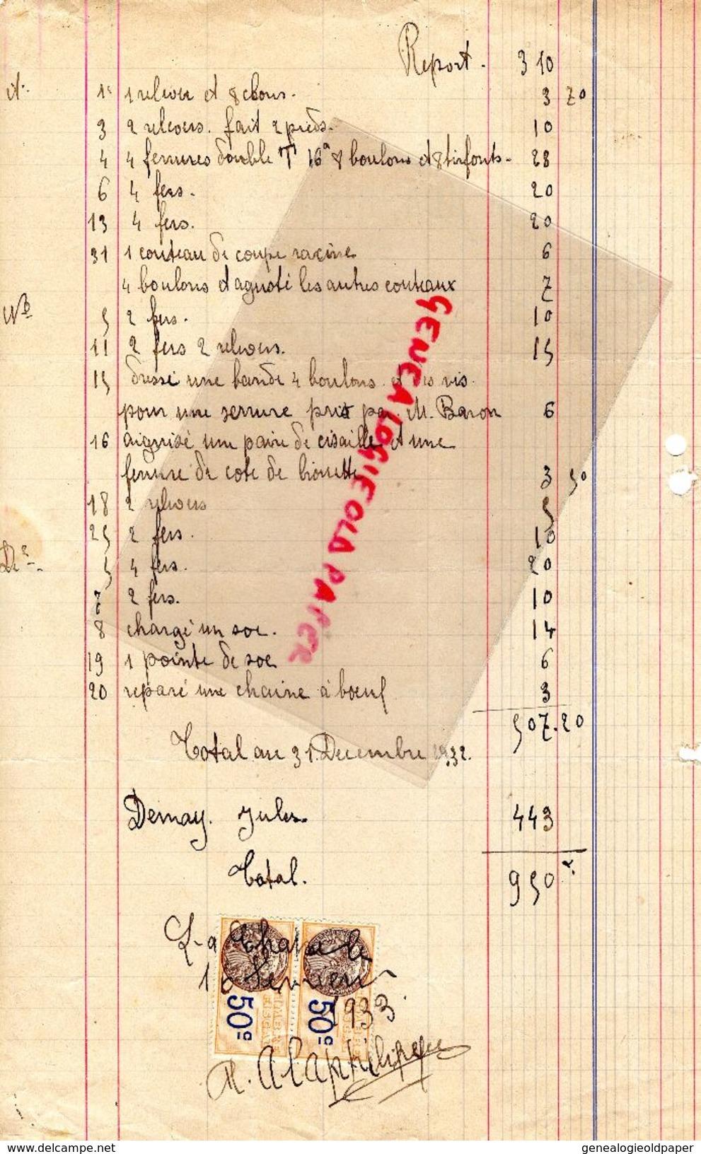 36- LA CHATRE- RARE FACTURE A. ALAPHILIPPE-ATELIER MARECHALERIE-41 RUE NATIONALE-MAISON MIJOUANT- 1932 - Old Professions