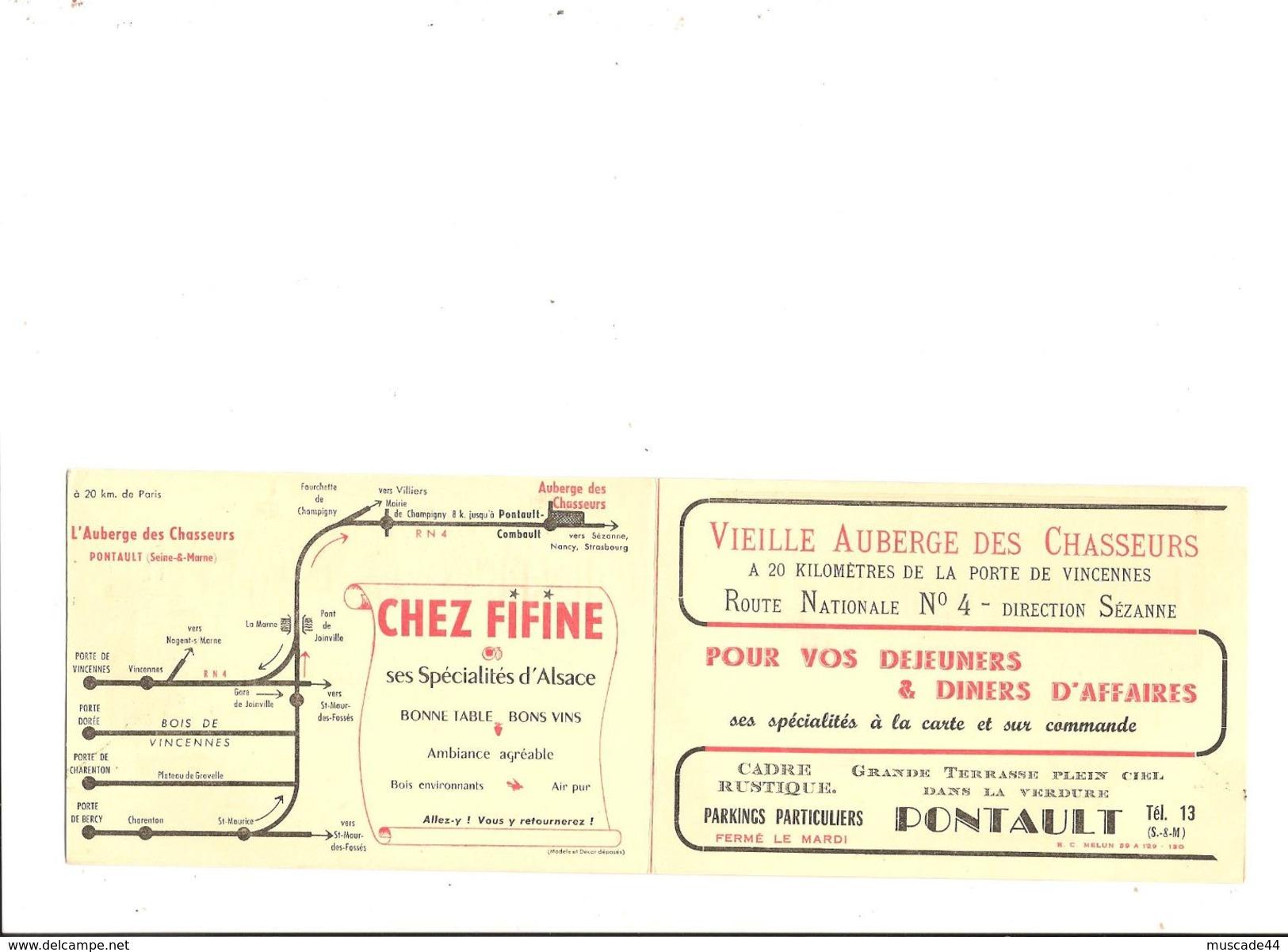AUBERGE DES CHASSEURS - PONTAULT - SEINE ET MARNE - Publicités