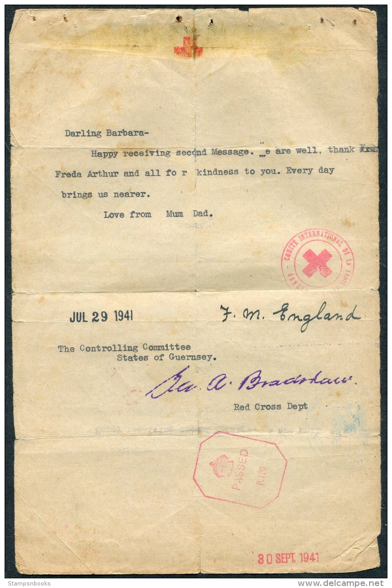 1941 Guernsey Red Cross Message - Guernsey