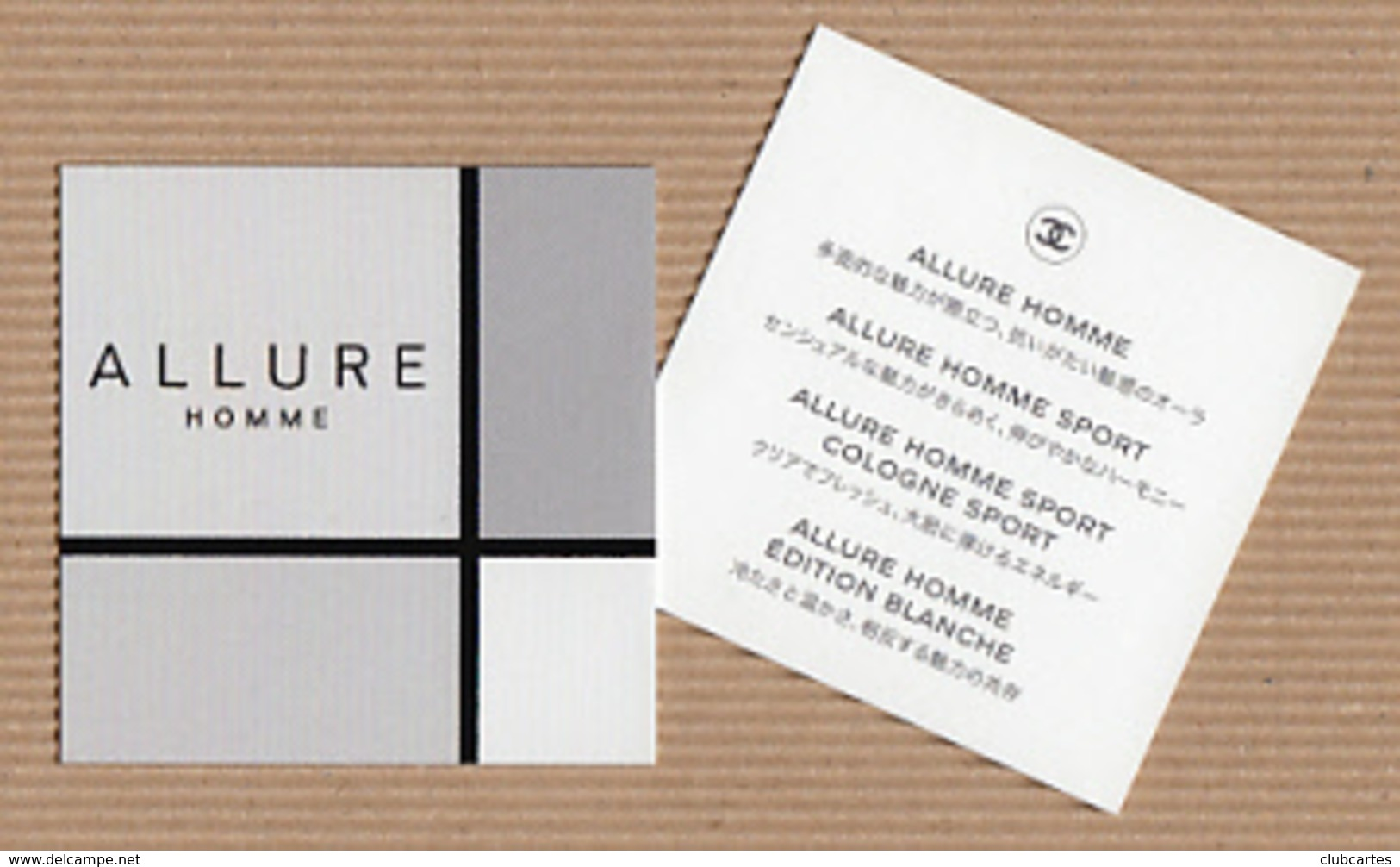 CC Carte Parfumée CHANEL 'ALLURE HOMME' Perfume Card JAPAN - Modern (from 1961)