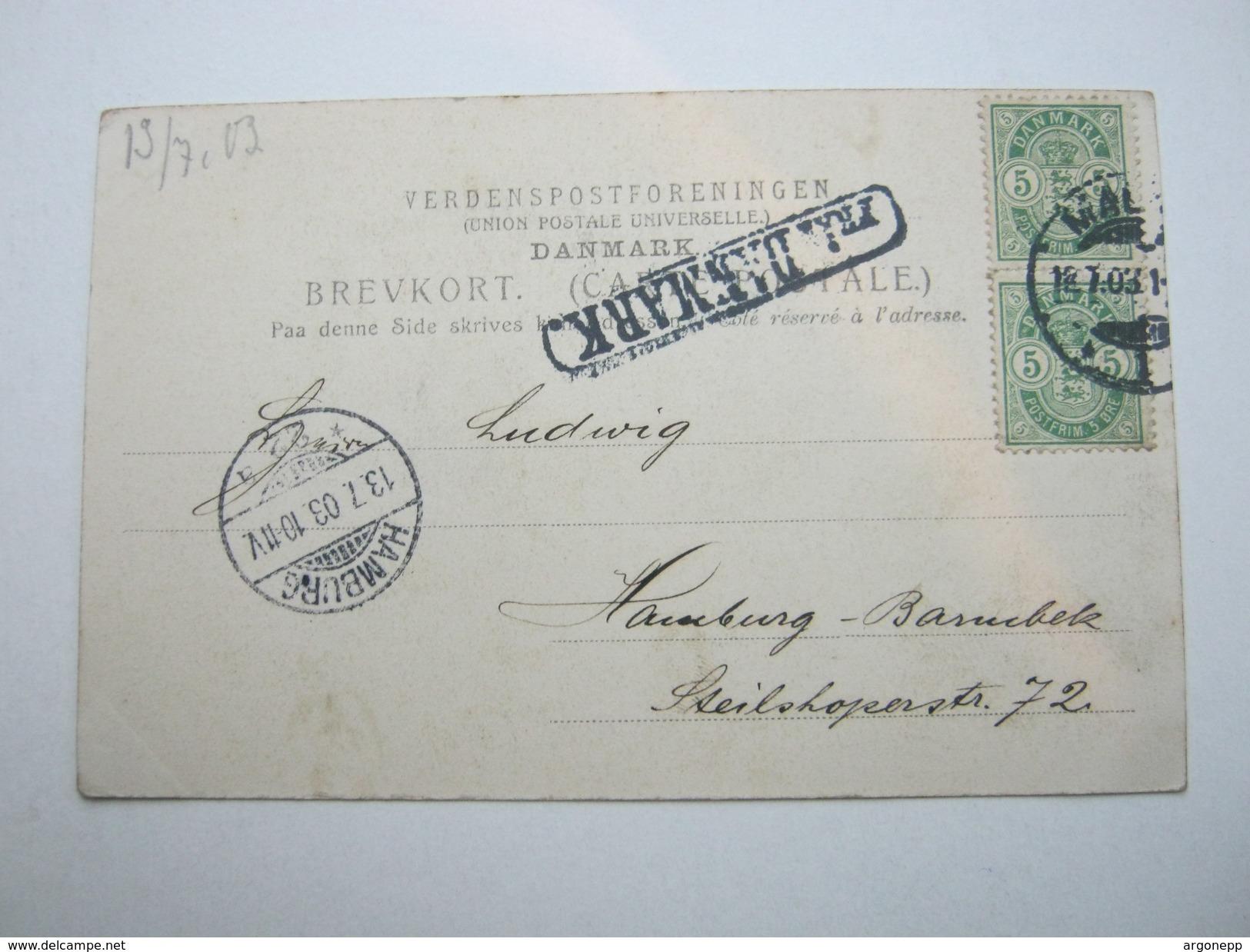 1903 , FRA DANMARK , Stempel Auf Karte Mit Dänemark-Marken Und Stempel MALMÖ - 1864-04 (Christian IX)