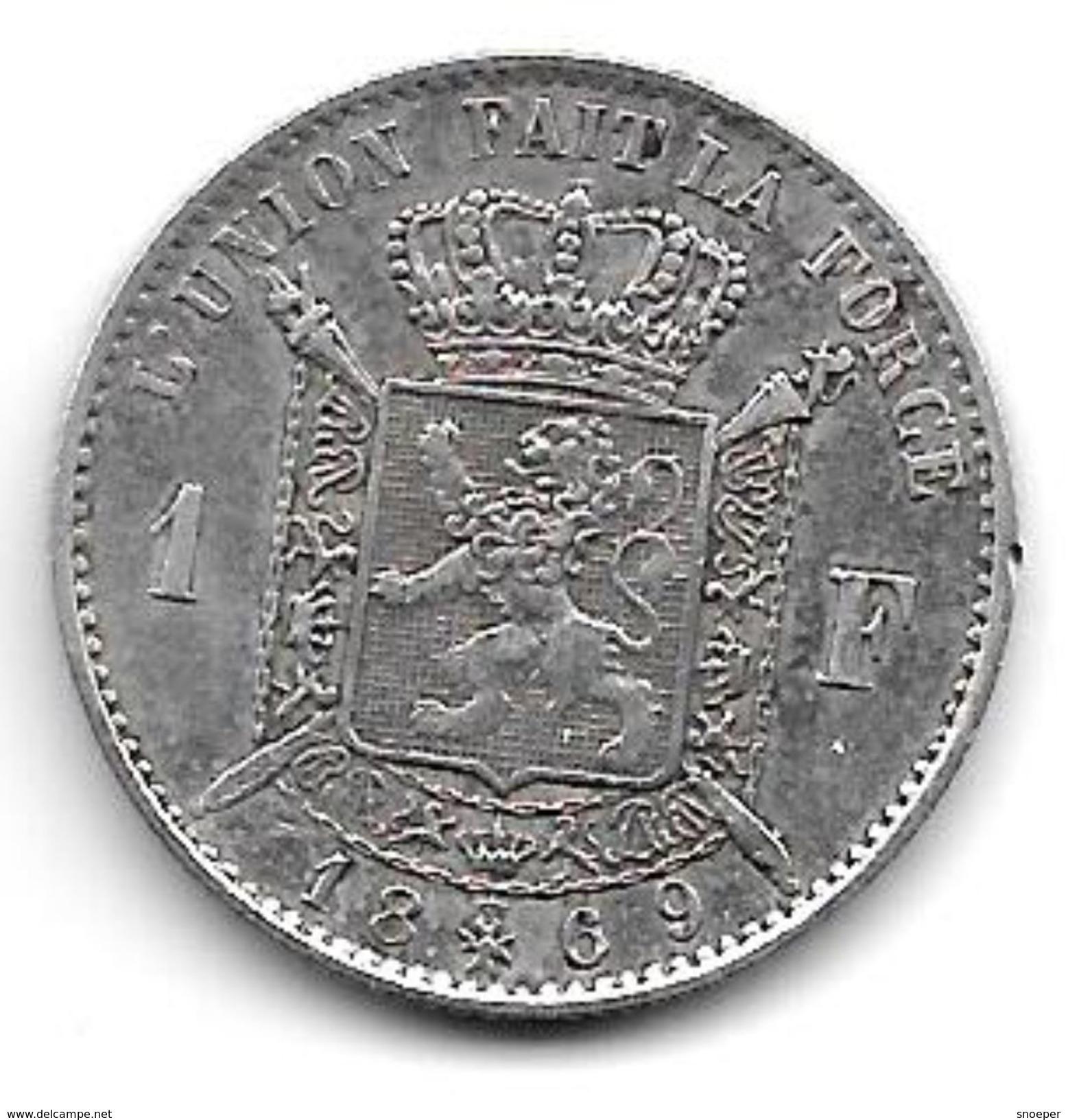 *belguim 1 Franc  Leopold II  1869 French  Vf+ !!!! - 1865-1909: Leopold II