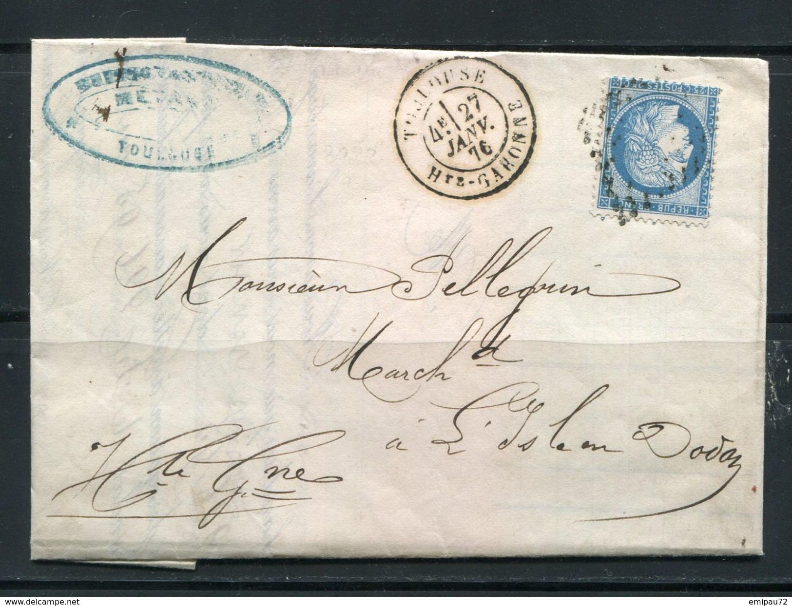 FRANCE- Lettre Du 27 Janvier 1872 De TOULOUSE (30) Pou L'ISLE EN DODON (30)- Y&T N°60C- GC 3982 - 1871-1875 Ceres