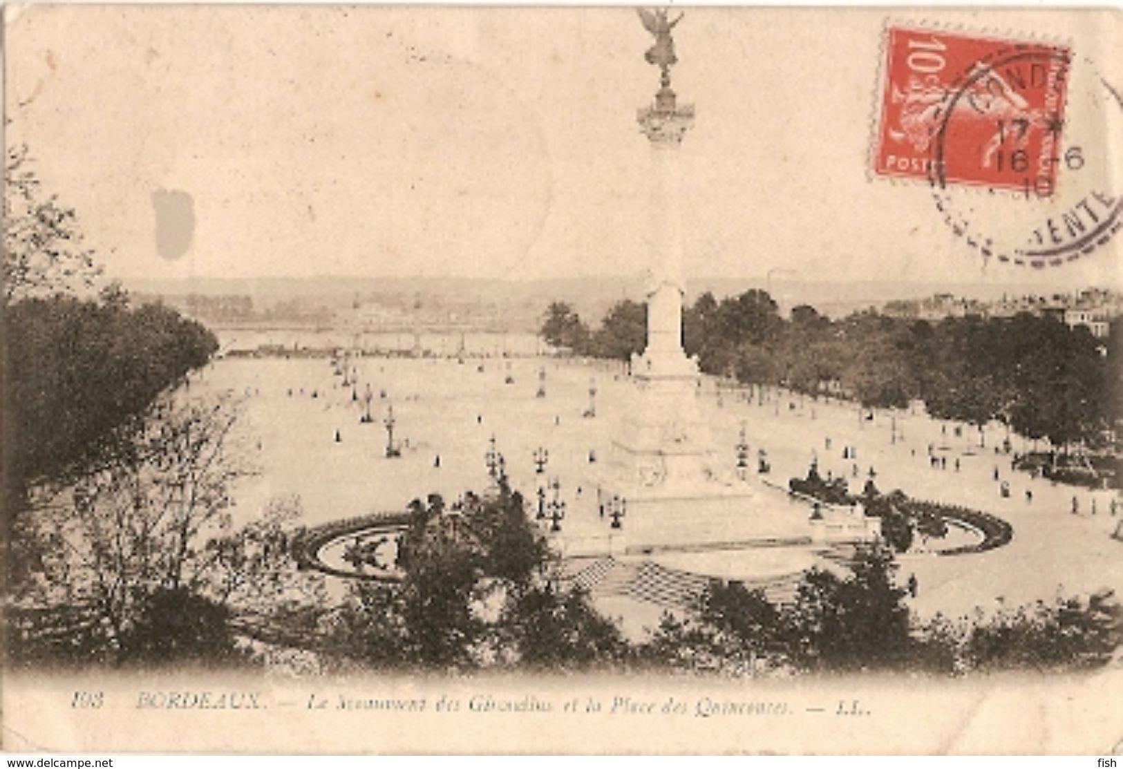 France & Circulated, Le Monument De Girondins Et La Place Quinconces, Bordeaux, Condéon, Lisboa 1910 (193) - Monuments