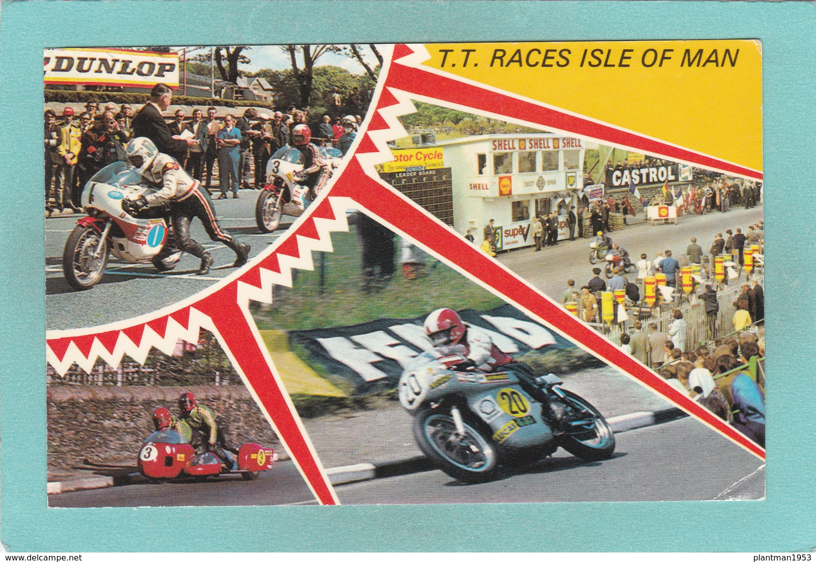 Small Modern Multi View Postcard Of T.T.Races,Isle Of Man.V51. - Isle Of Man