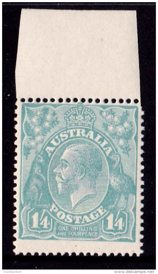 Australia 1920 King George V 1/4d Greenish Blue Single Crown Marginal MNH - - 1913-36 George V: Heads