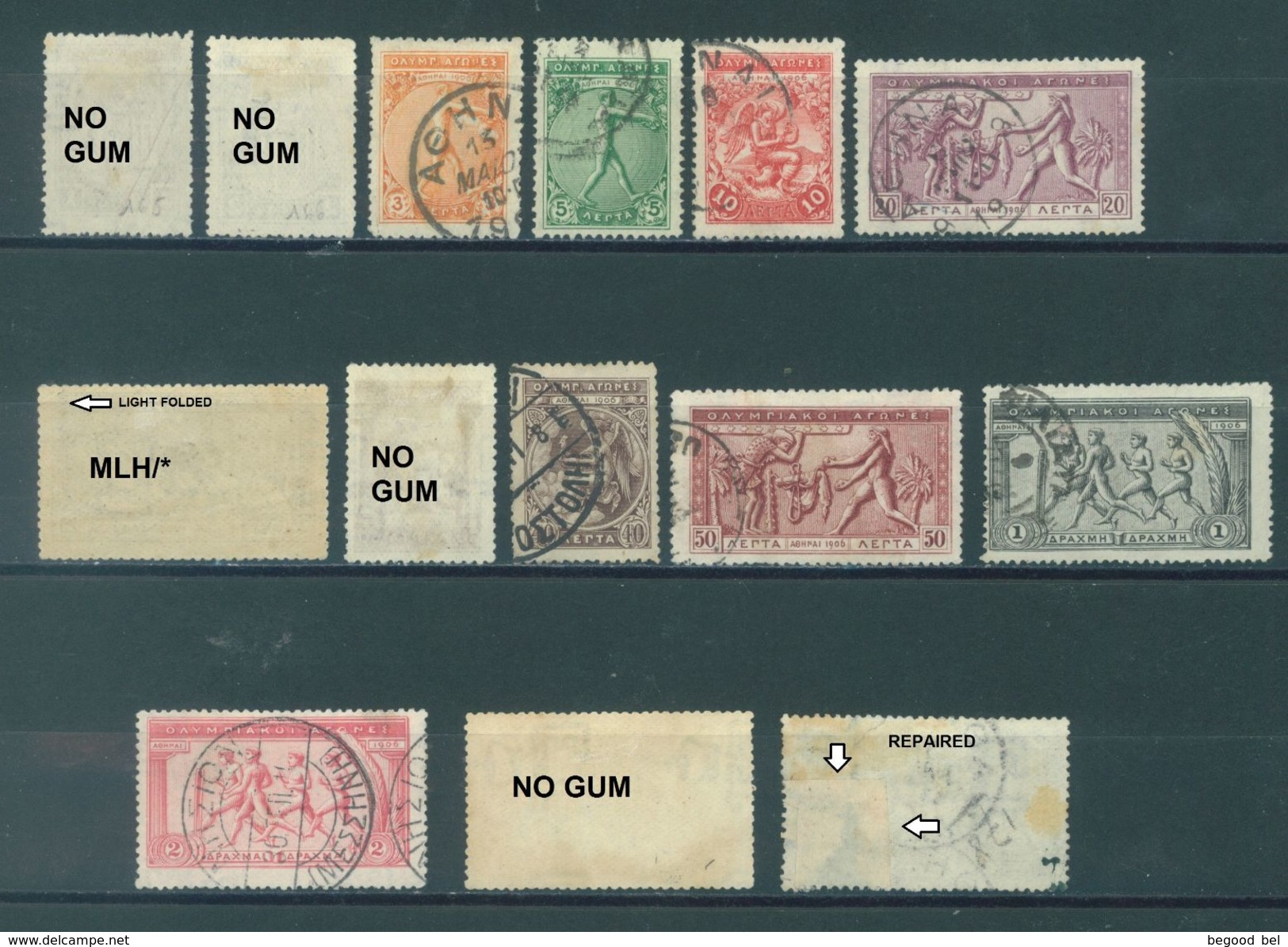 GREECE - USED/OBLIT. - 1906 - Mi 144-157 Yv 165-178 - Lot 16098 - SEE SCANS WITH DEFECTUOSITIES - LOW PRICE !!! - 1906 Deuxième Jeux Olympiques