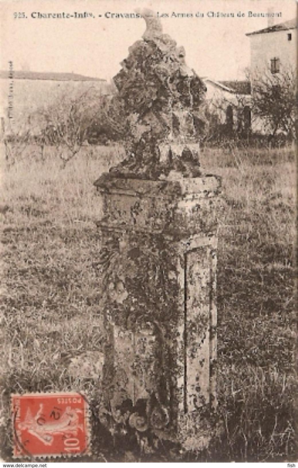 France & Circulated,  Les Armes De Château De Beaumont, Cravans, Condeon, Lisboa 1910 (925) - Monuments