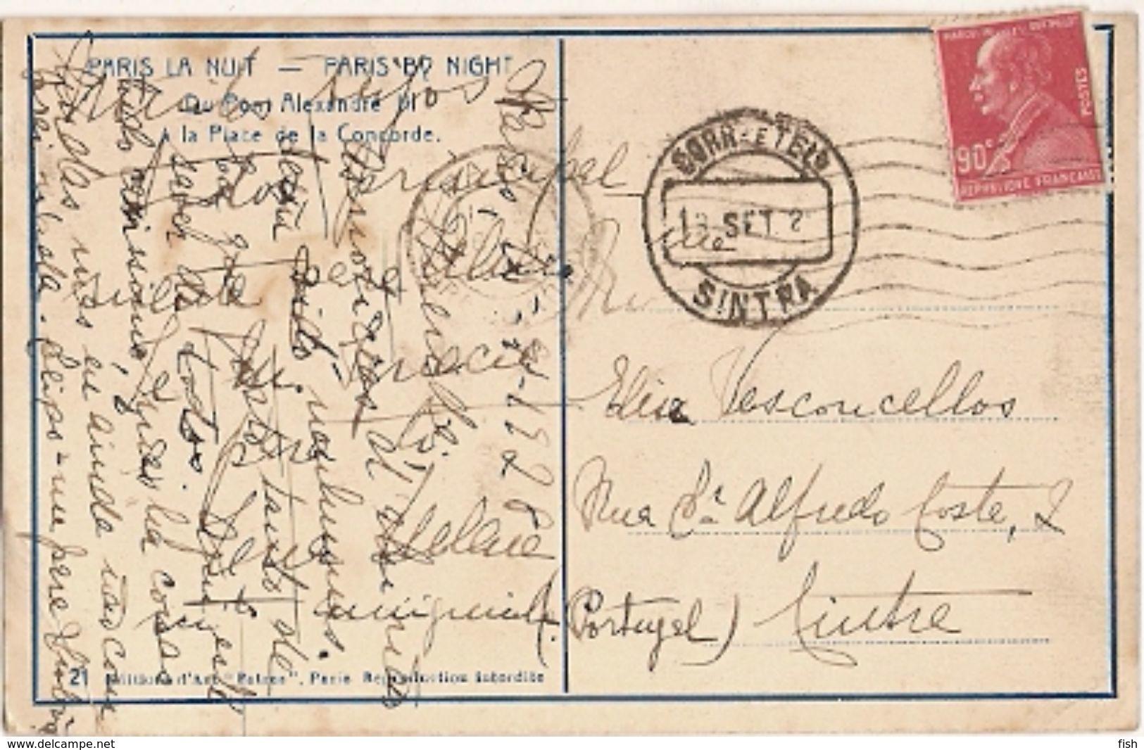 France & Circulated, Paris,  La Nuit, Sintra Portugal 1928 (32) - Monuments
