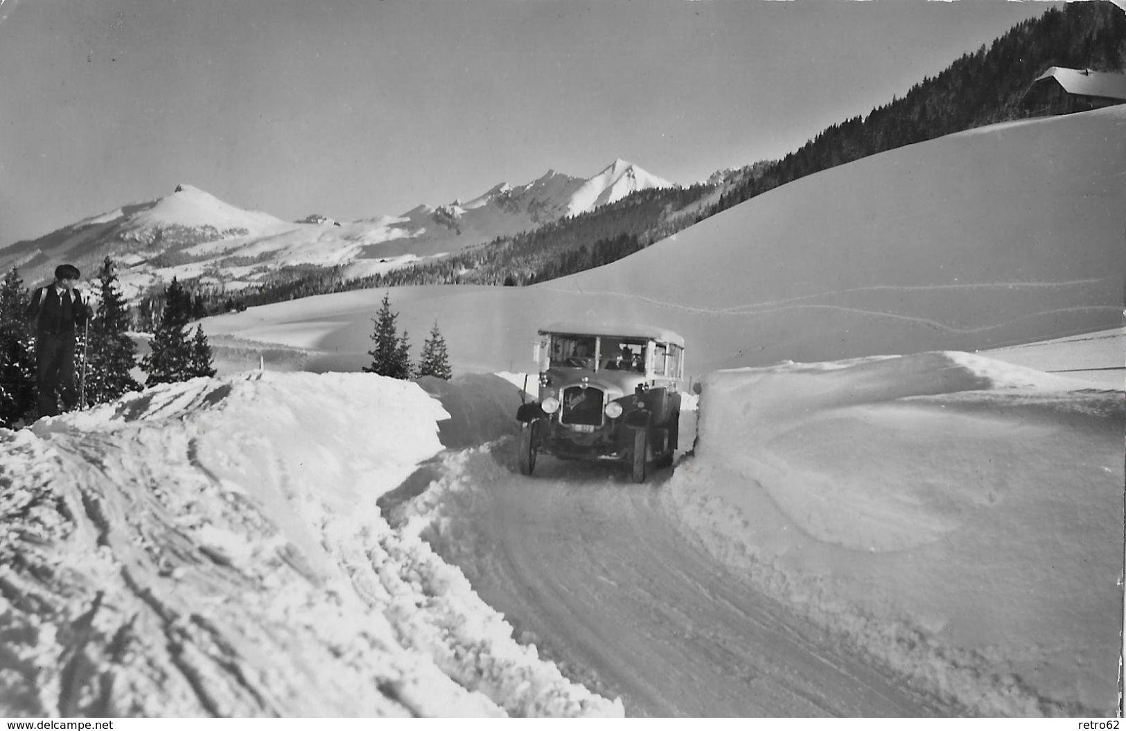 ADELBODEN → Altes Saurer-Postauto Im Winter Nach Geils-Hahnenmoos 1952  ►RRR◄ - BE Bern