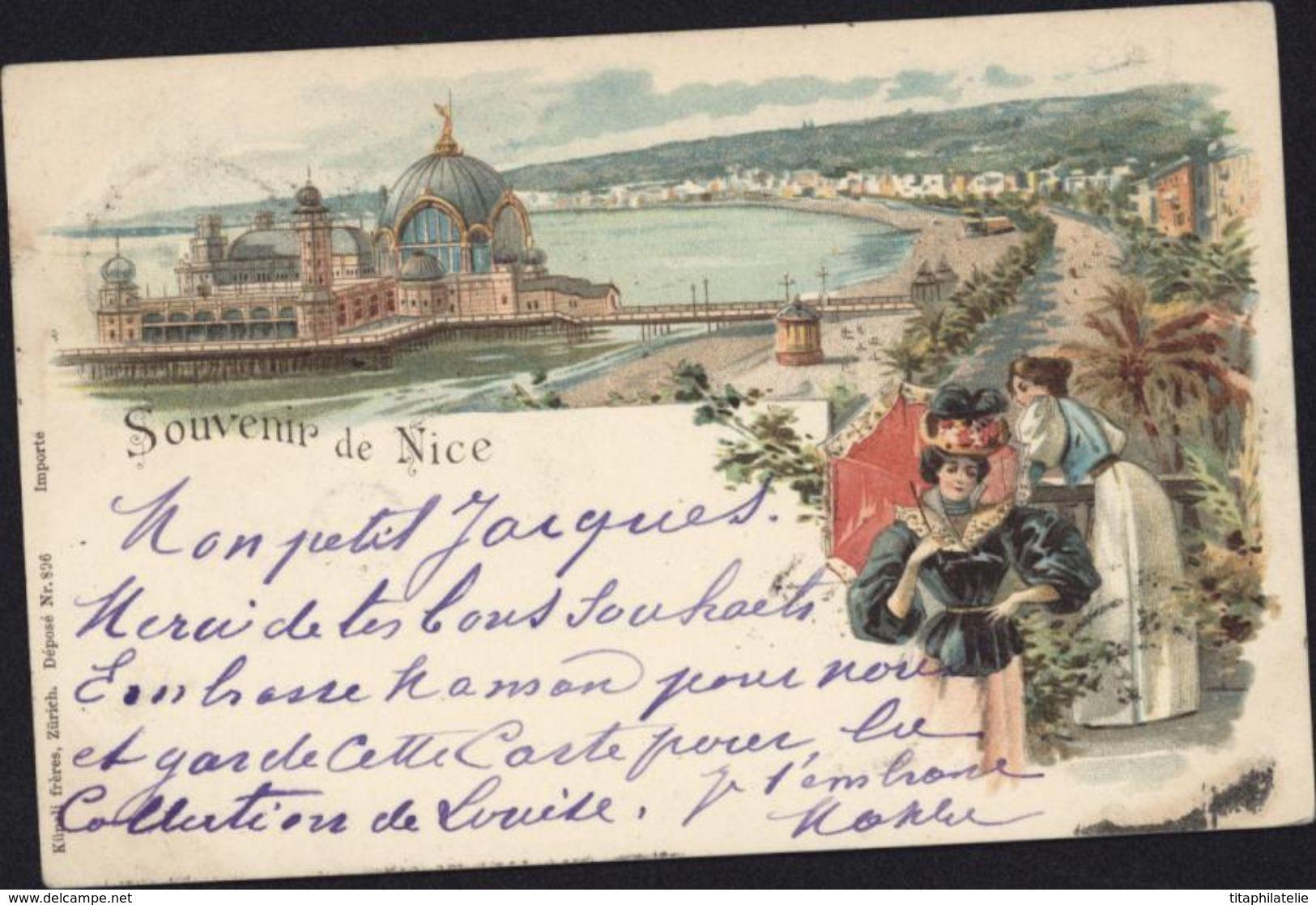 CPA Souvenir De Nice Style Gruss Dames Carte Postale Précurseur - Sets And Collections