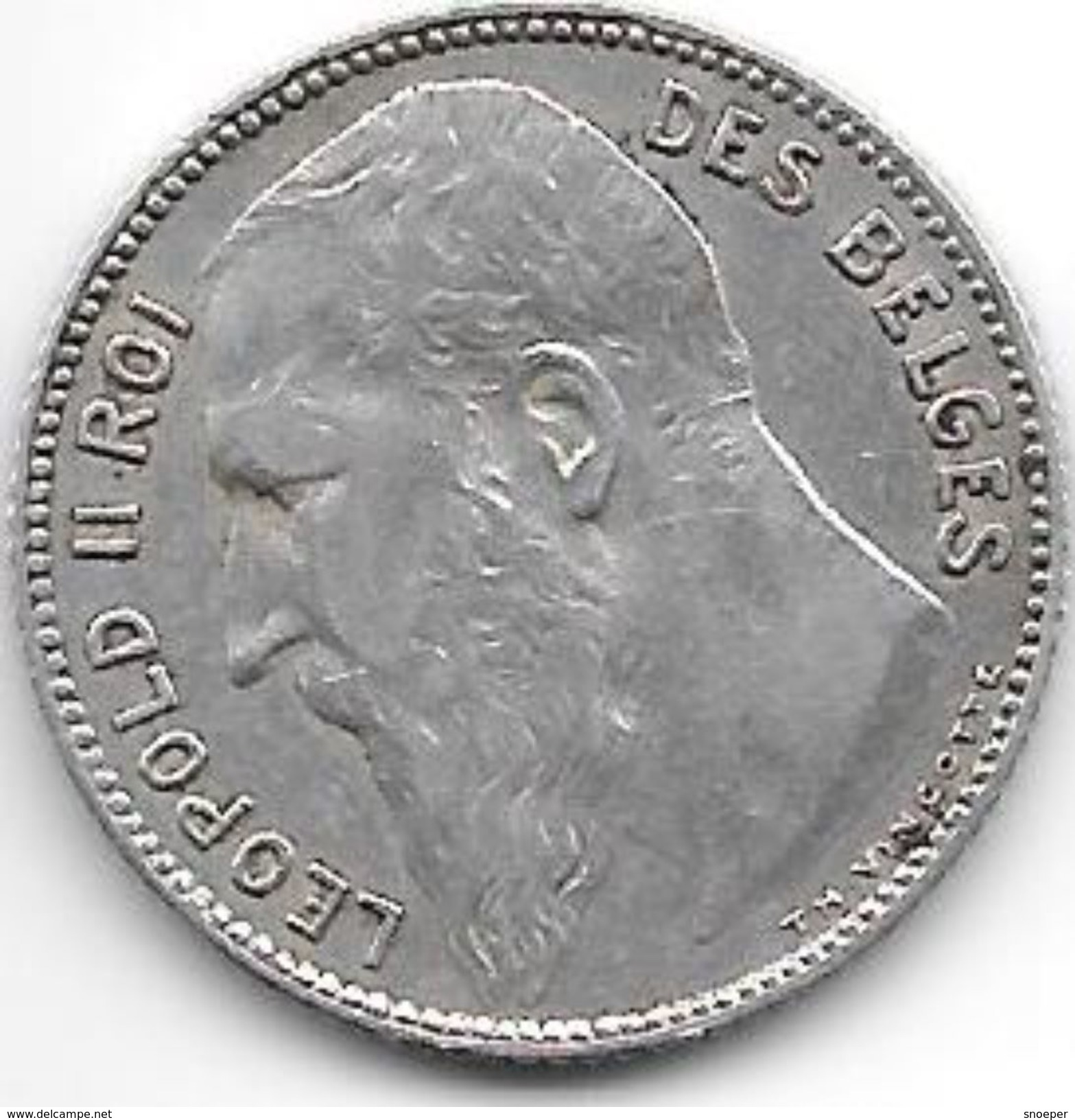 *belguim 1 Franc  Leopold  II  1909 French TH Without Point Vf+ - 1865-1909: Leopold II