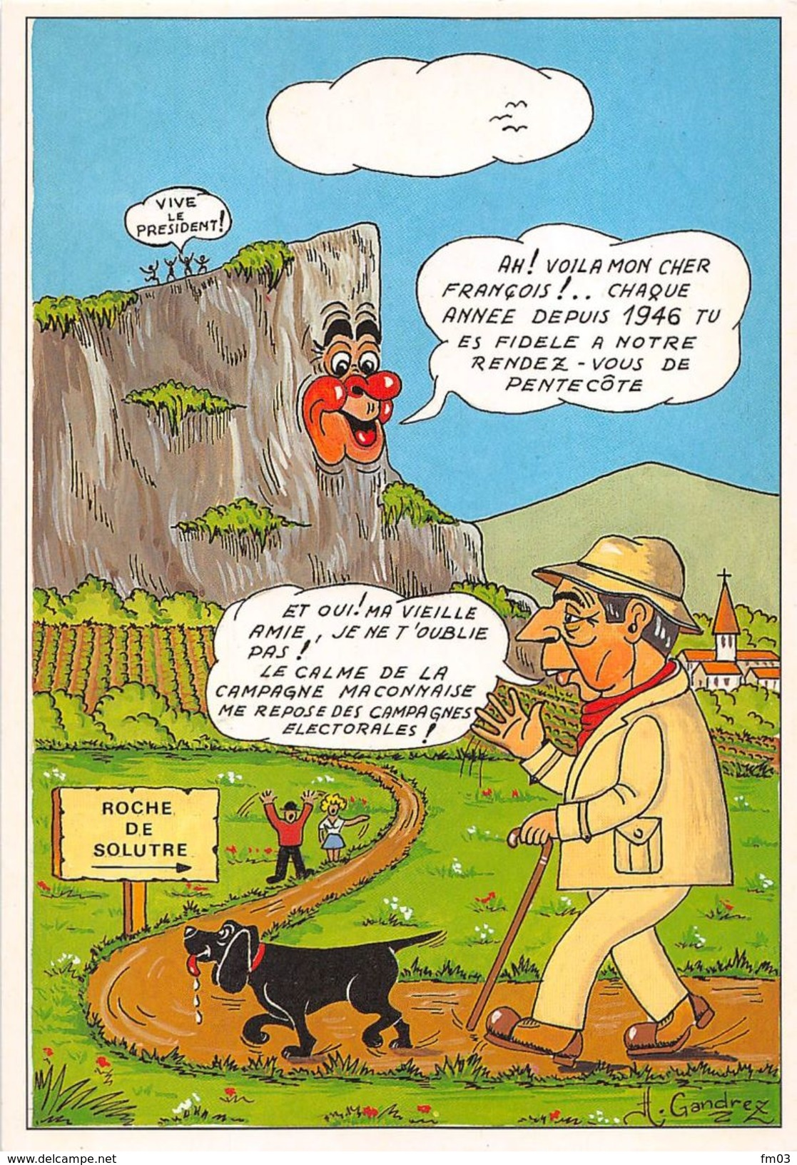 Solutré Canton Mâcon Mitterand Signée Par Illustrateur Henri Gandrez Cluny - France