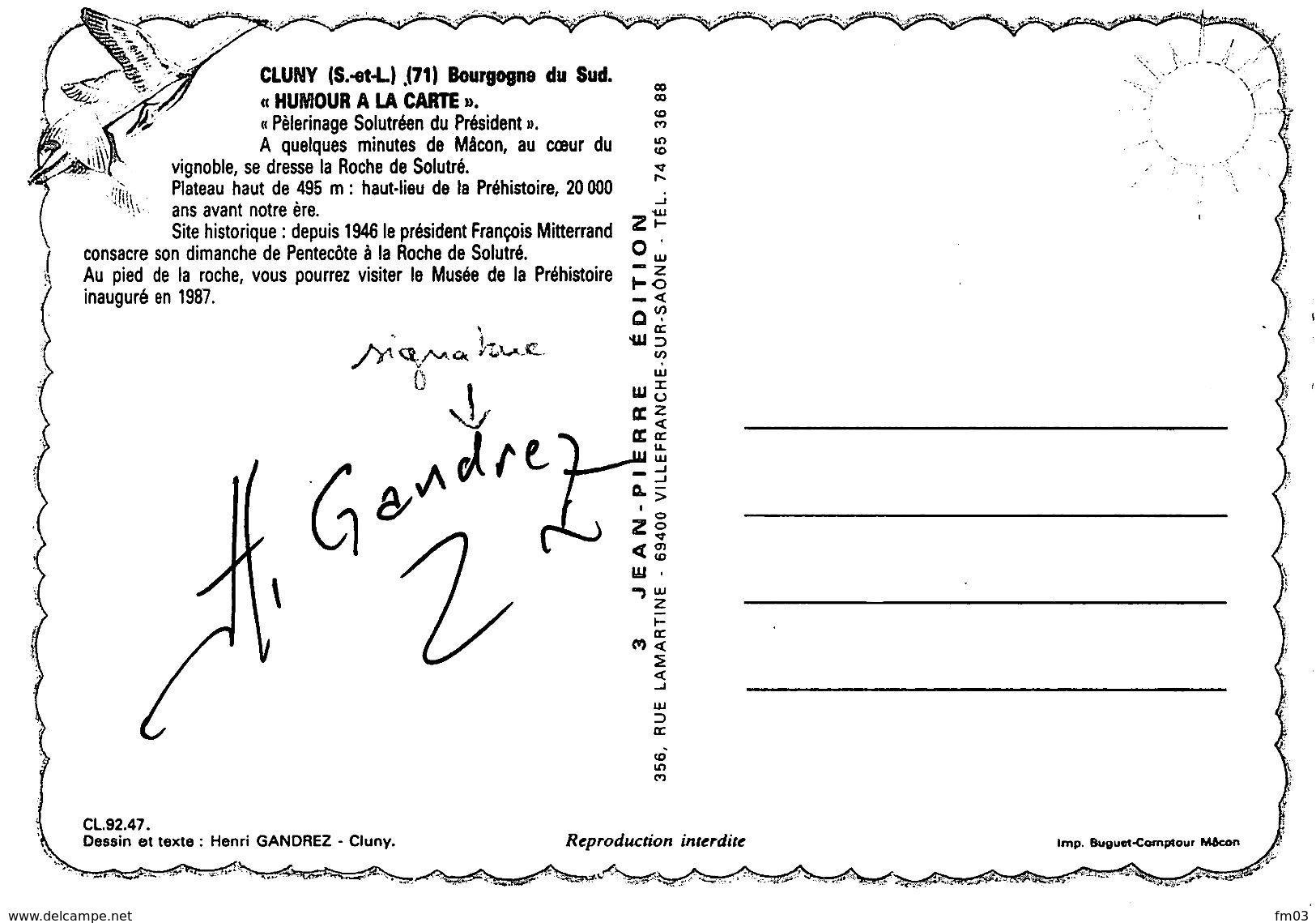 Solutré Canton Mâcon Mitterand Signée Par Illustrateur Henri Gandrez Cluny - Autres Communes