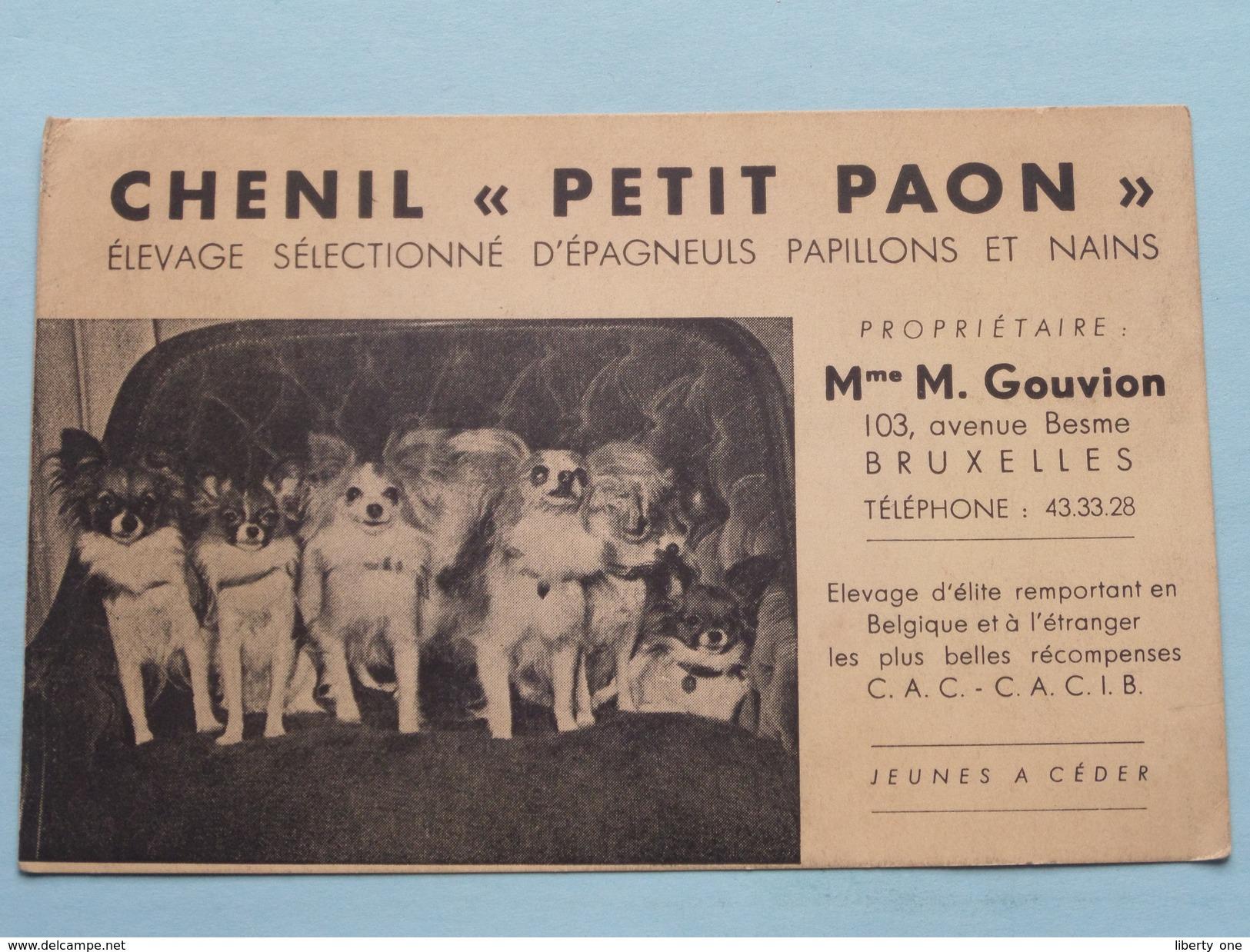 """CHENIL """" PETIT PAON """" ( Prop. Mme M. GOUVION Bruxelles ) Anno 19?? ( Zie Foto's ) ! - Cartes De Visite"""