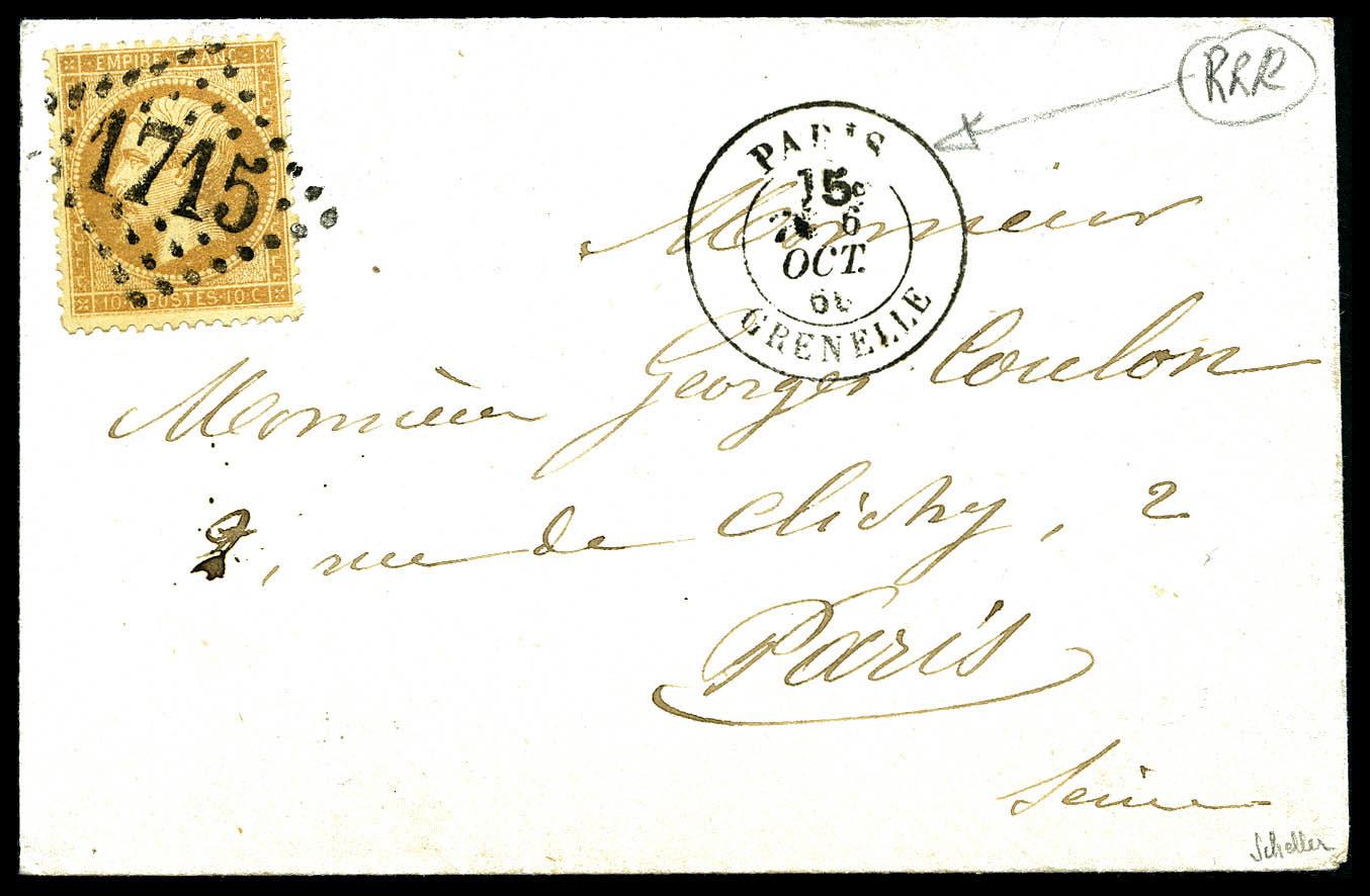 O N°21, 10c Bistre Obl GC 1715 + Càd Taxe 15c Dans La Couronne 'Paris Grenelle' Utilisé à Tort Sur Lettre Locale. TB (si - Postmark Collection (Covers)