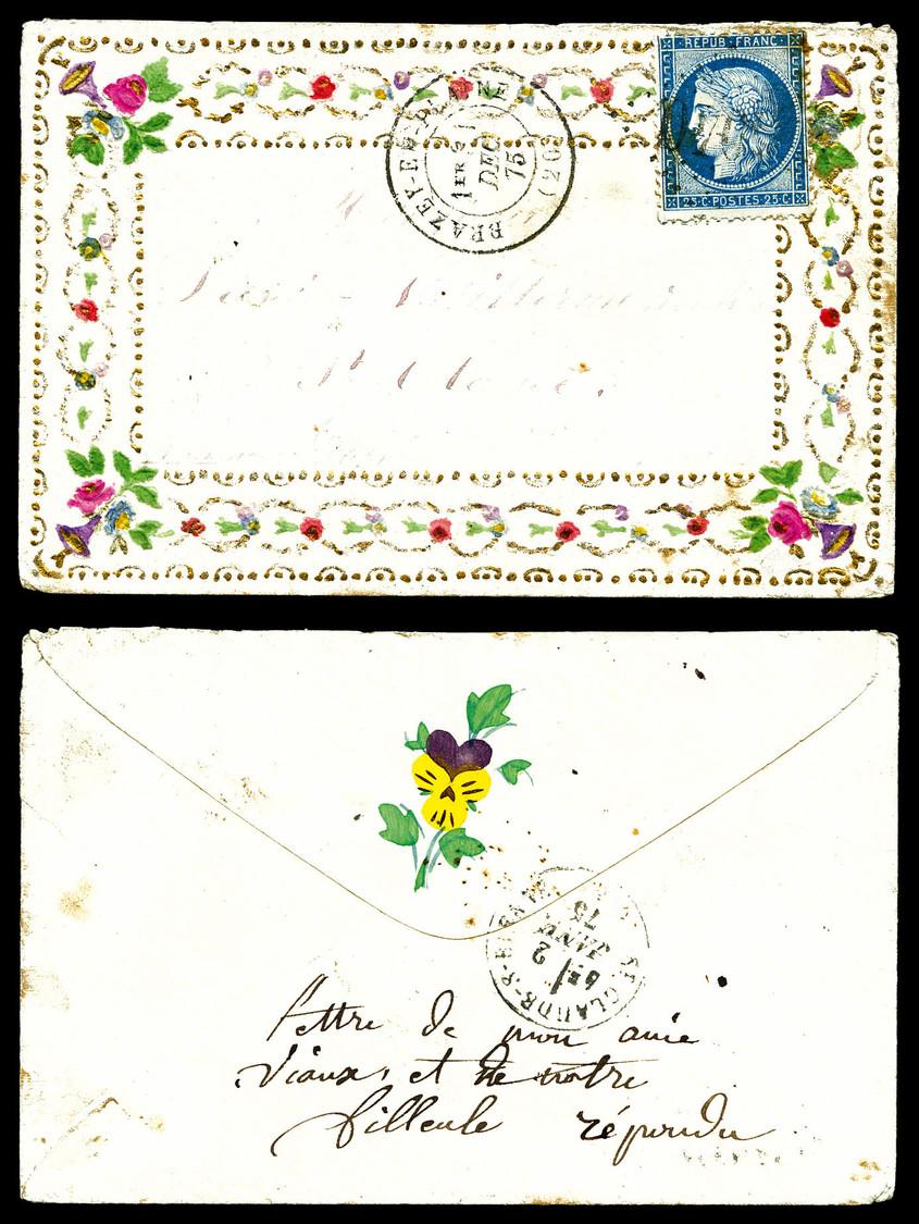 O N°60, 25c Cérès Sur Enveloppe Valentine De Brazey En Plaine Le 1er Dec 75, Arrivée à St Claude Le 2 Janv. TTB (signé C - Marcophilie (Lettres)