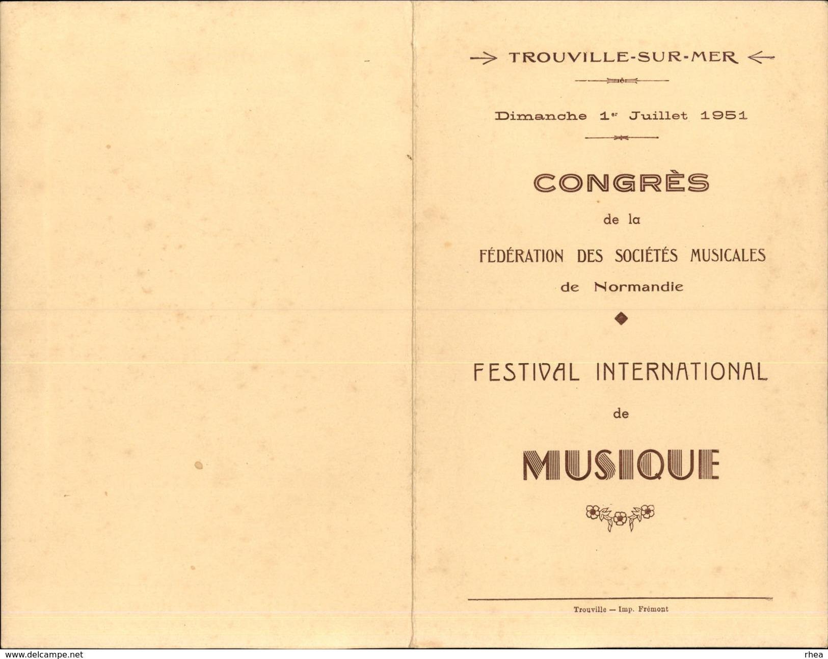 14 - TROUVILLE - MENU Du Congrès De La Fédération Des Sociétés Musicales - Festival  1951 - Plié En 2 - Menus