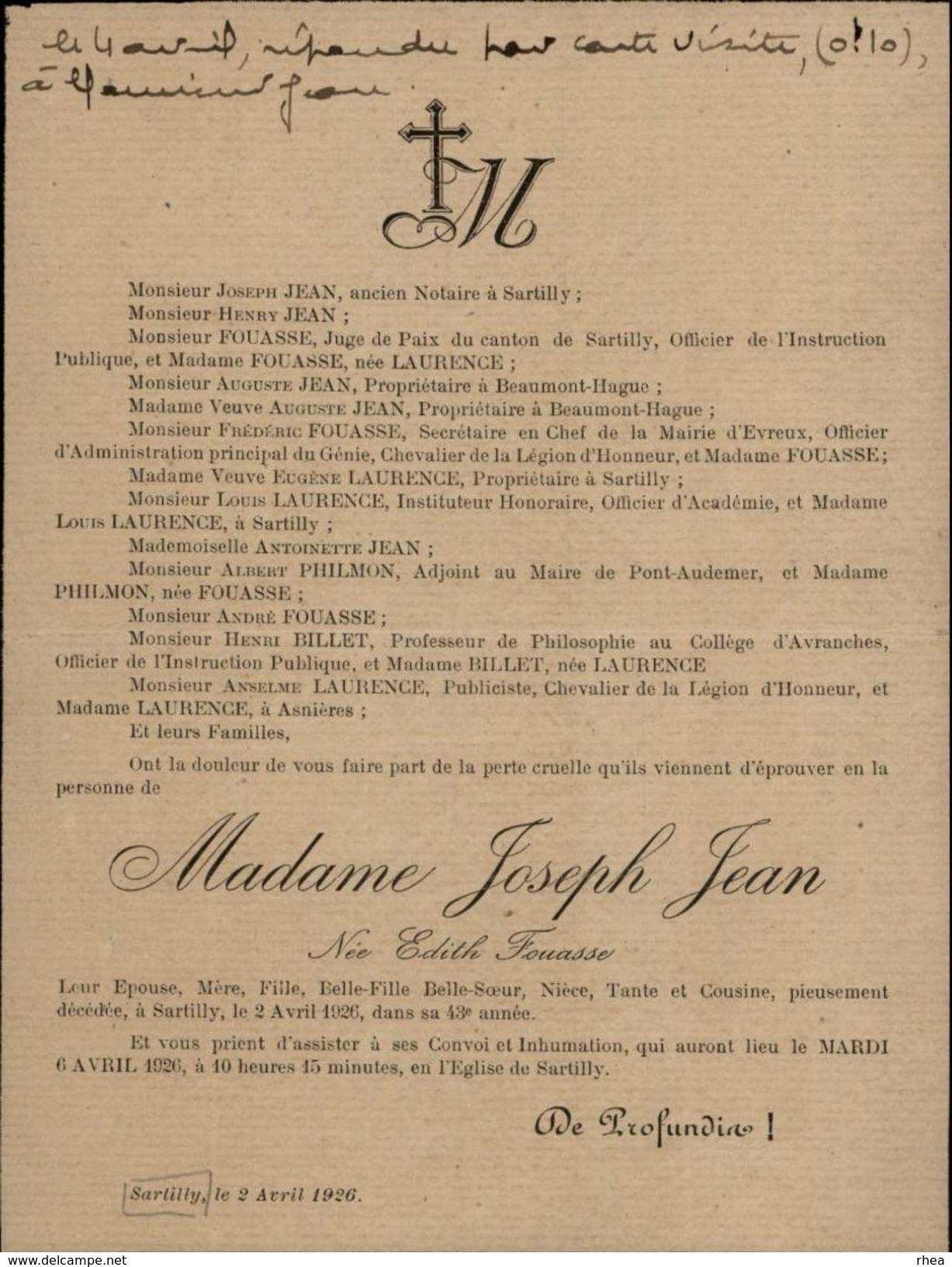 50 - SARTILLY - Faire-part De Décès - MME Joseph Jean Née Edith Fouasse - 1926 - Vieux Papiers