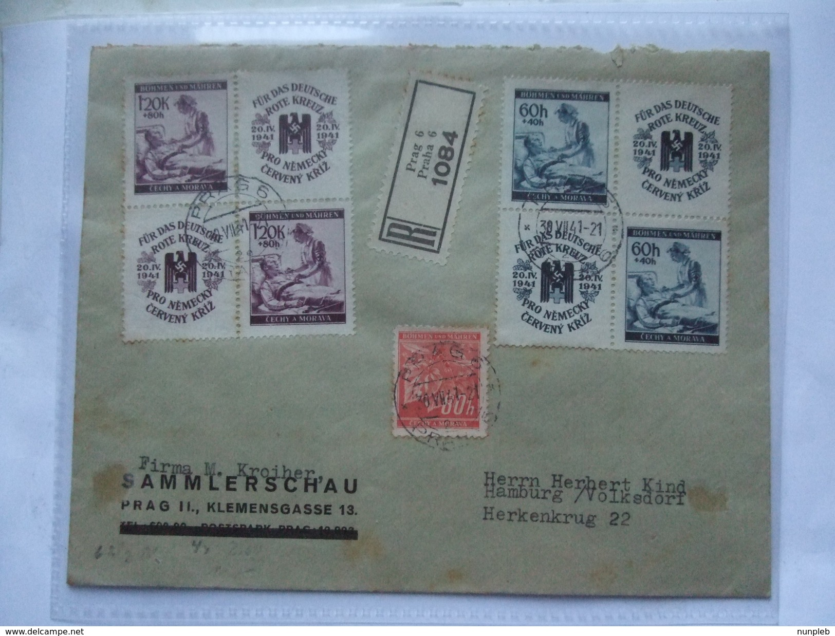 BOHEMIA & MORAVIA / Bohmen Und Mahren Registered Praha Cover Sent To Herkenkrug Germany - Bohemia & Moravia