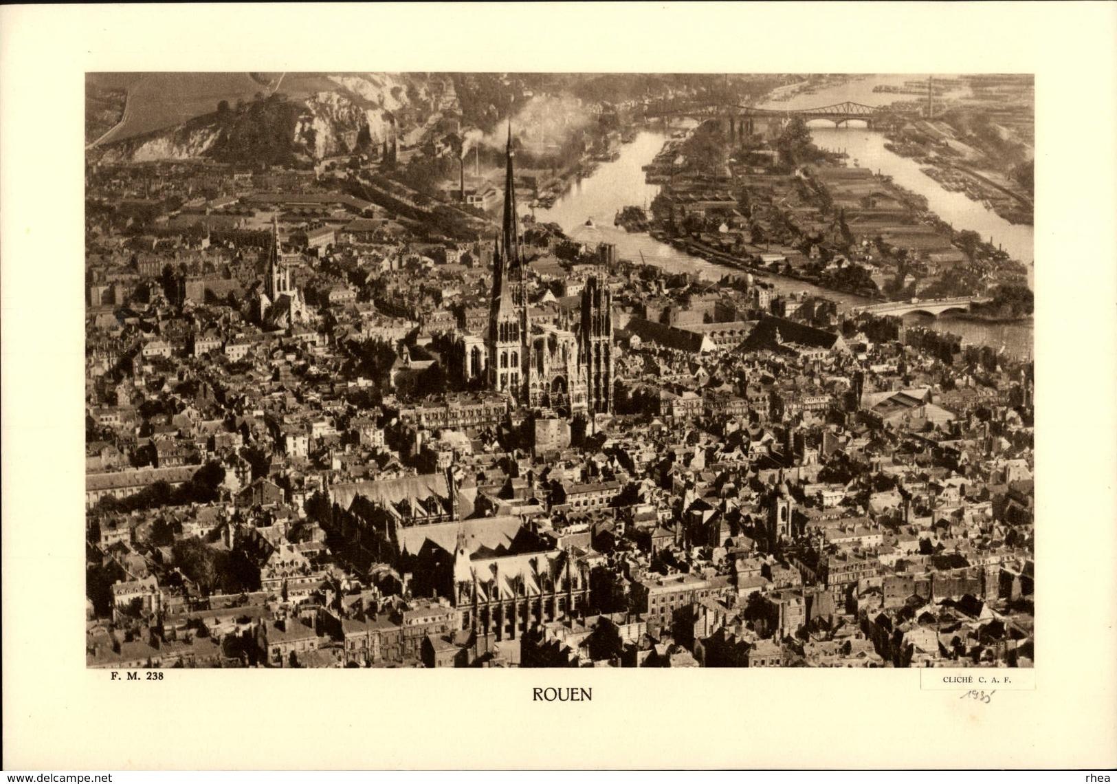 76 - ROUEN - Planche Sépia - Cliché 1935 - Publicités