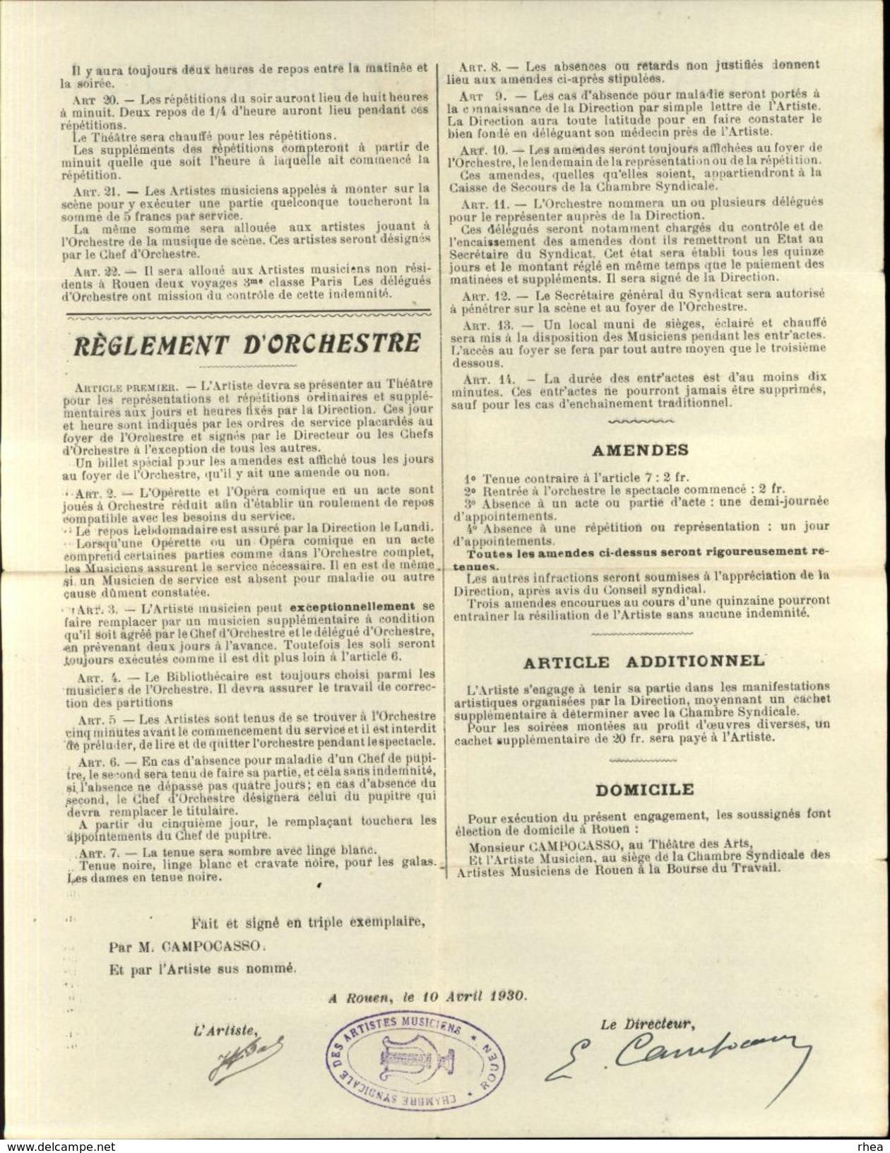 76 - ROUEN - Théatre Des Arts De Rouen - Engagement D'orchestre 1930-1931 - Vieux Papiers