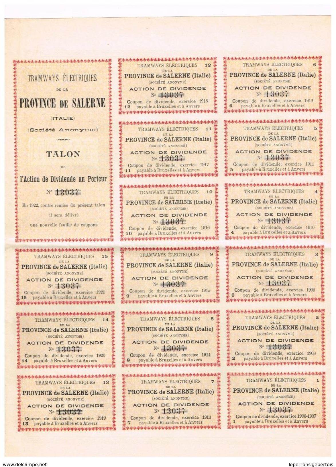 Action Ancienne - Tramways Electriques De La Province De Salerne - Titre De 1906 - - Chemin De Fer & Tramway