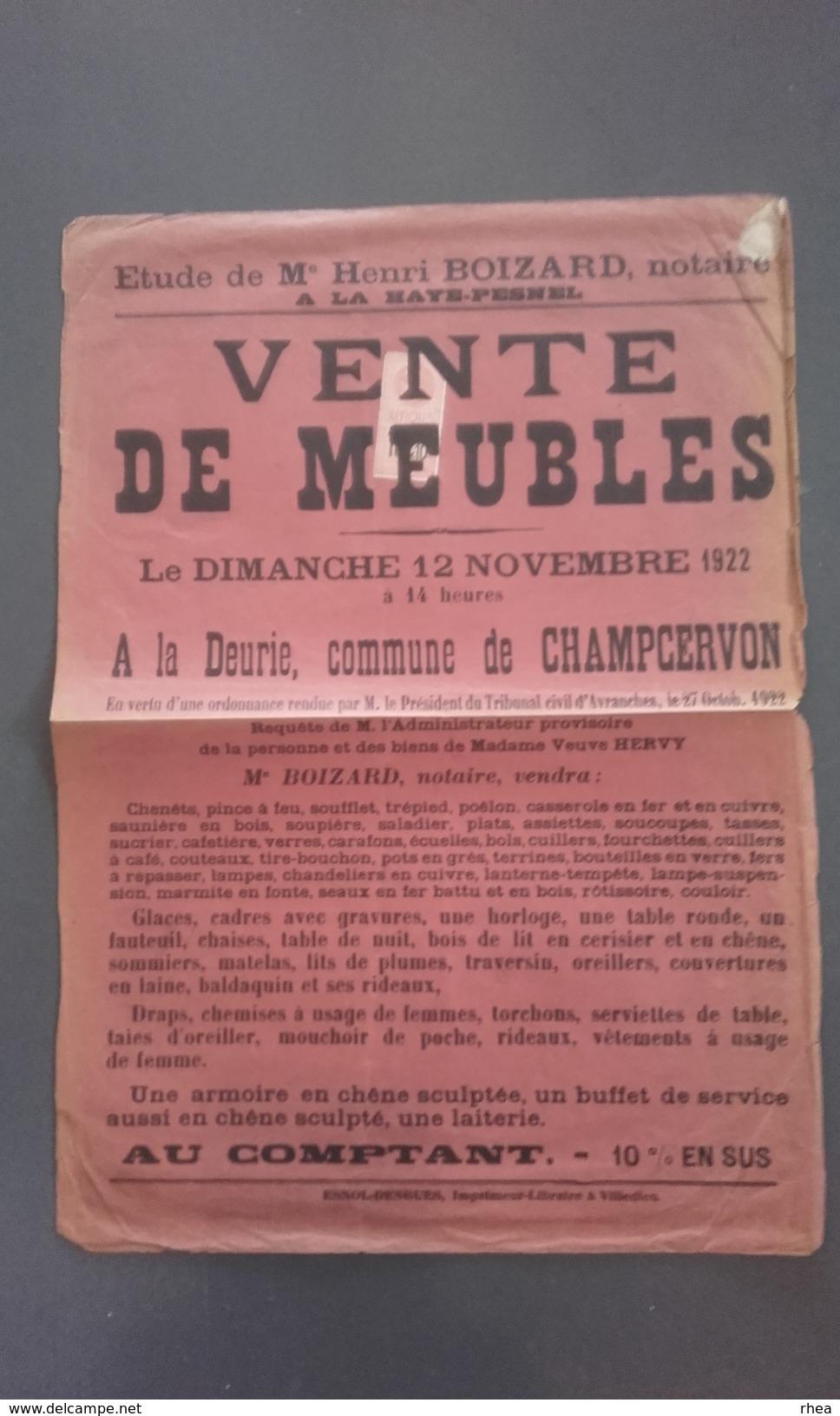 50 - CHAMPCERVON - La Deurie - Affiche Vente De Meubles 1922 - Affiches
