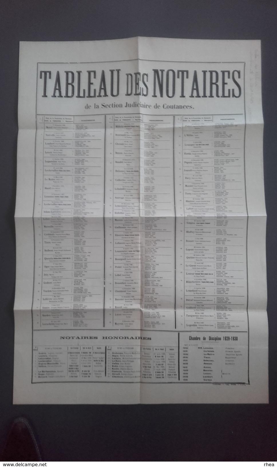 50 - COUTANCES - Tableau Des Notaires 1929-1930 - Affiches
