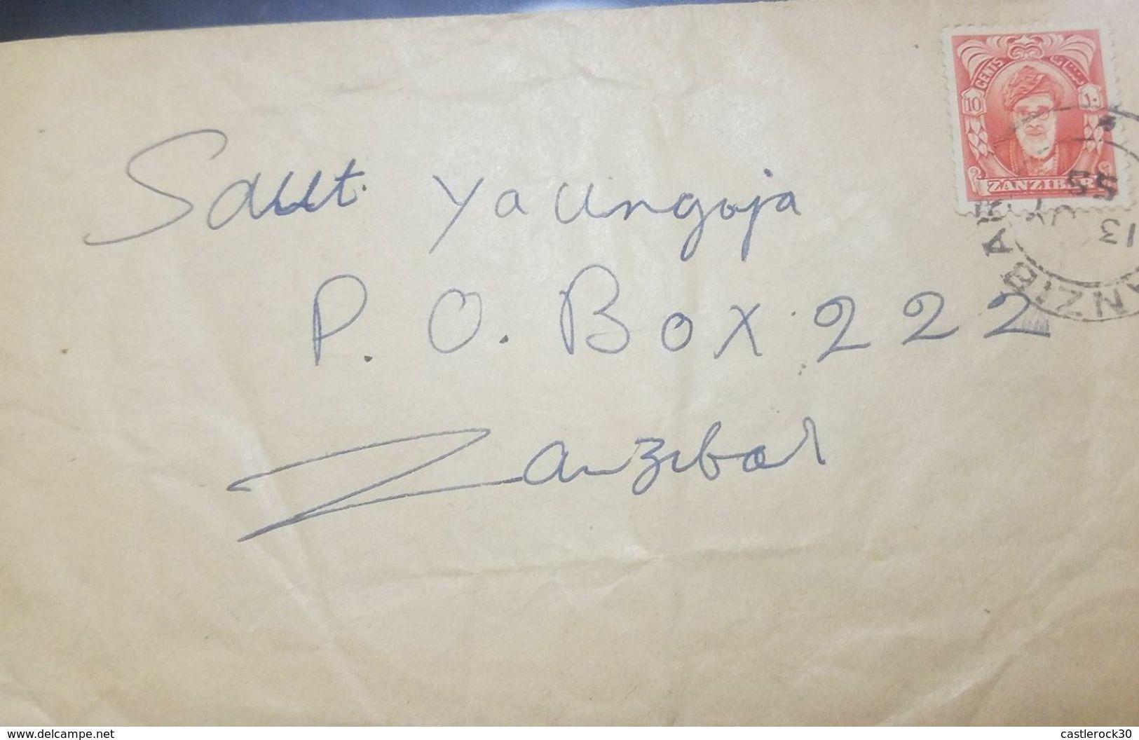 L) 1955 ZANZIBAR, SULTAN KALIF BIN HARUB, NINTH SULTAN, CIRCULATED COVER IN ZANZIBAR, XF - Zanzibar (1963-1968)