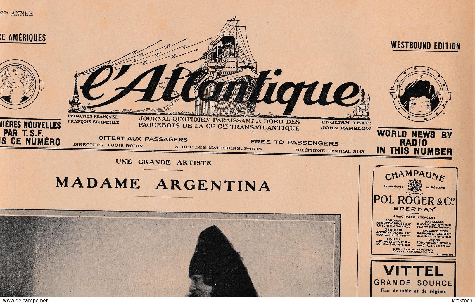 L'Atlantique Journal Quotidien Paquebot CGT 02.1928 - Français & Espagnol - Actualités Par TSF - Autres