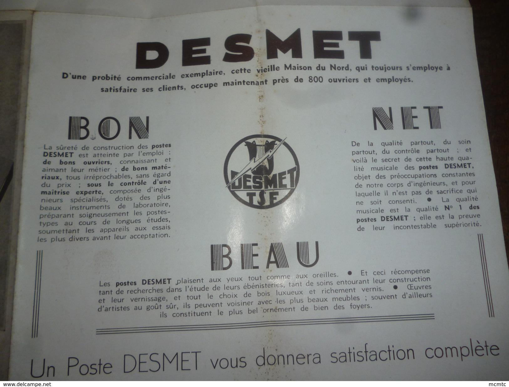 Dépliant - Postes  Desmet - Poste Radio -  P.Blin  Electricien à Wailly -  (Somme) - Publicidad