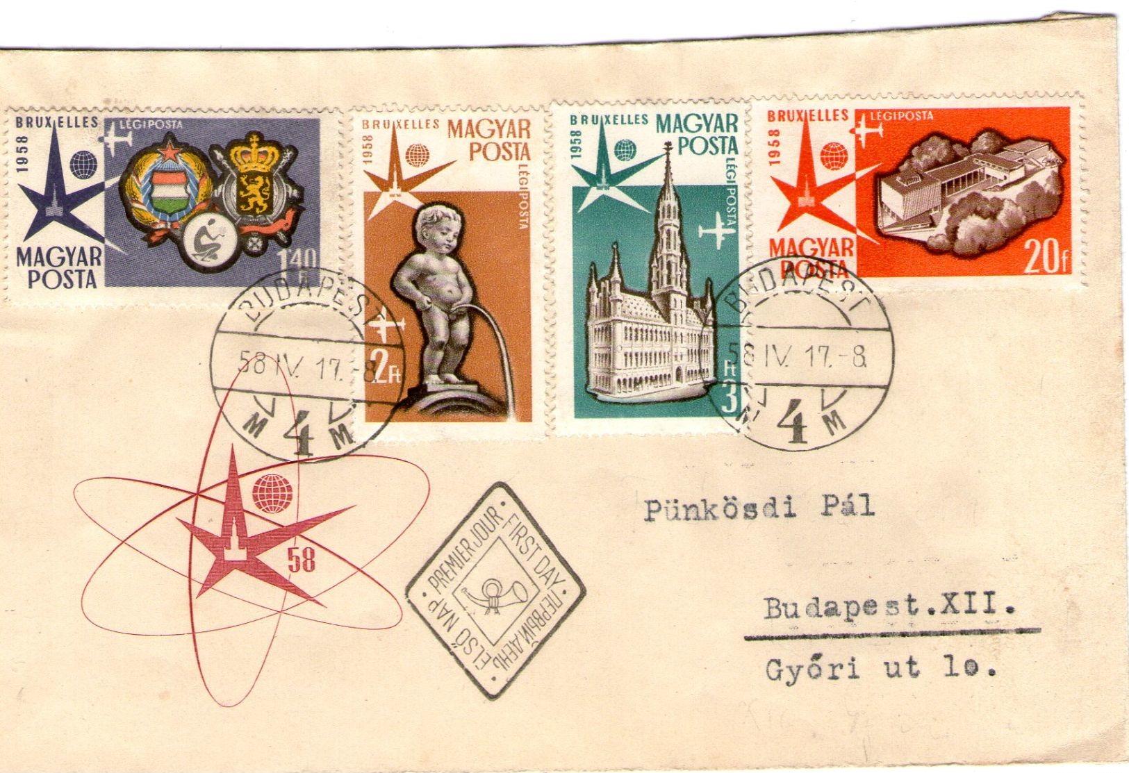 Hungary Registered FDC For Bruxelles 1958 Air Mail - Brieven En Documenten