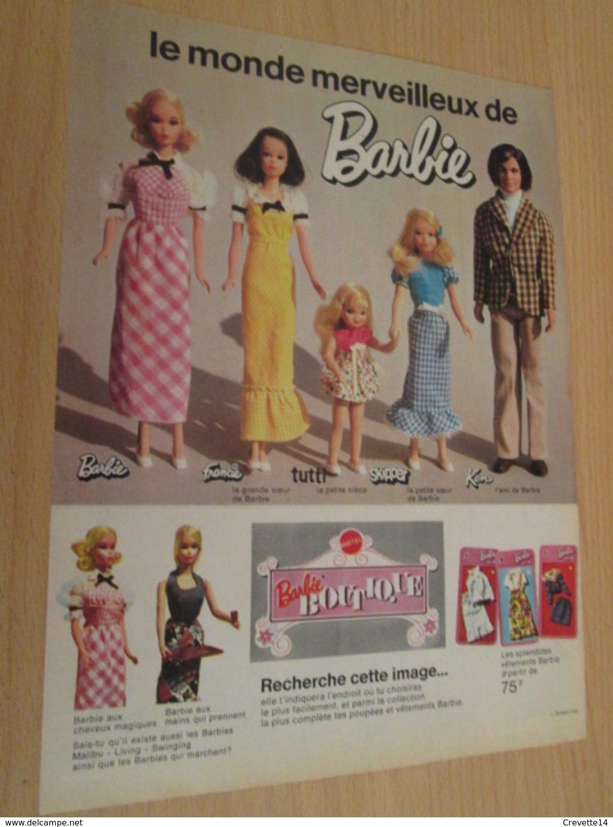 BOUTIQUE BARBIE  Pour  Collectionneurs ... PUBLICITE MATTEL Page De Revue Des Années 70 - Barbie