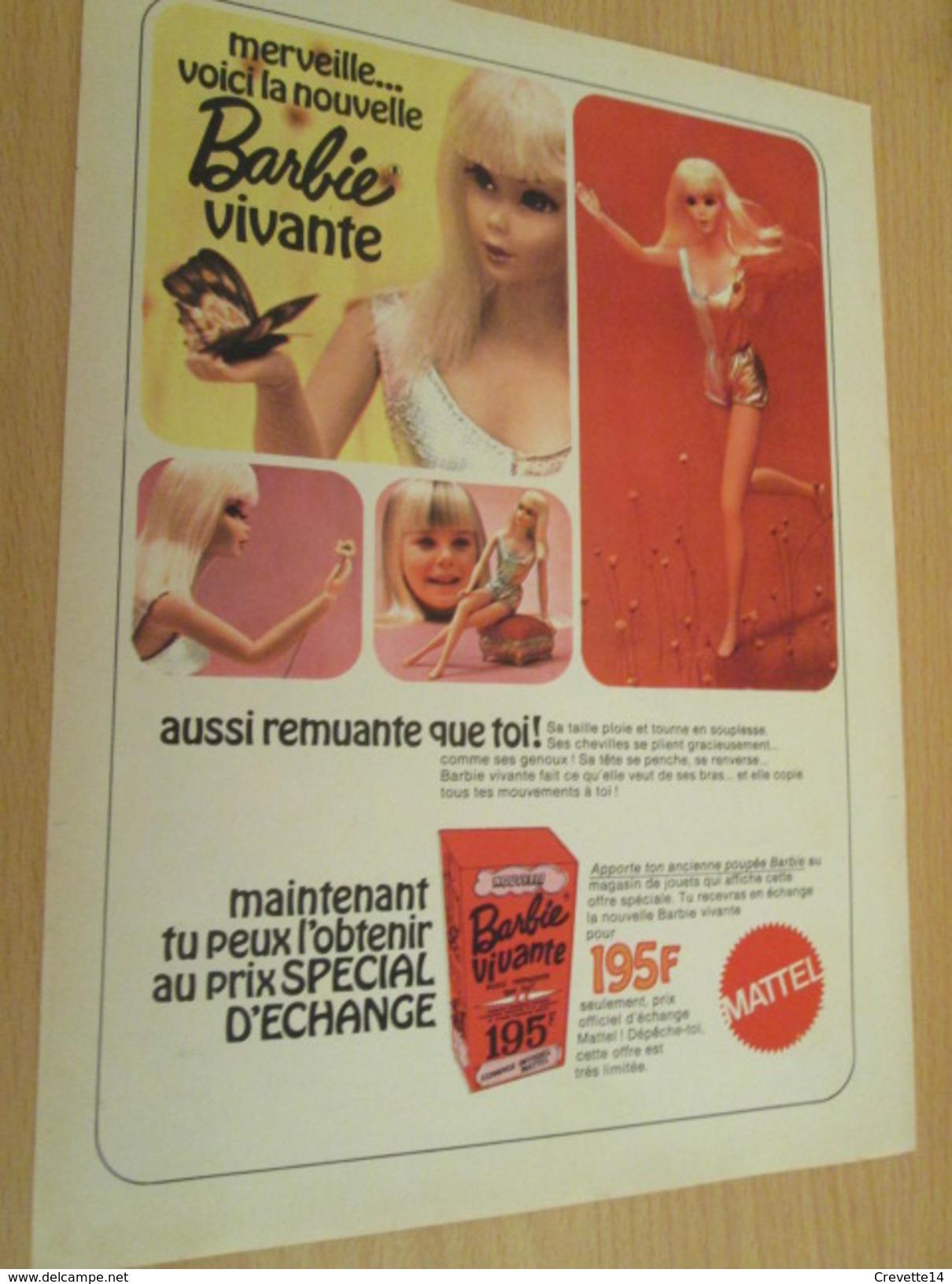 BARBIE VIVANTE Pour  Collectionneurs ... PUBLICITE MATTEL Page De Revue Des Années 70 - Barbie
