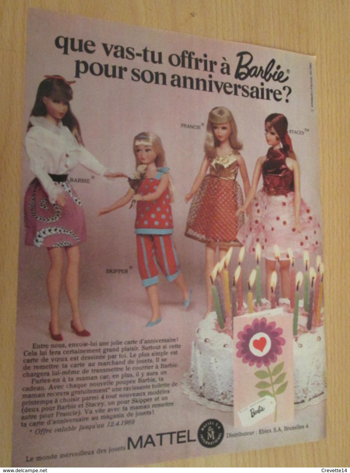 ANNIVERSAIRE DE BARBIE  Pour  Collectionneurs ... PUBLICITE MATTEL Page De Revue Des Années 70 - Barbie