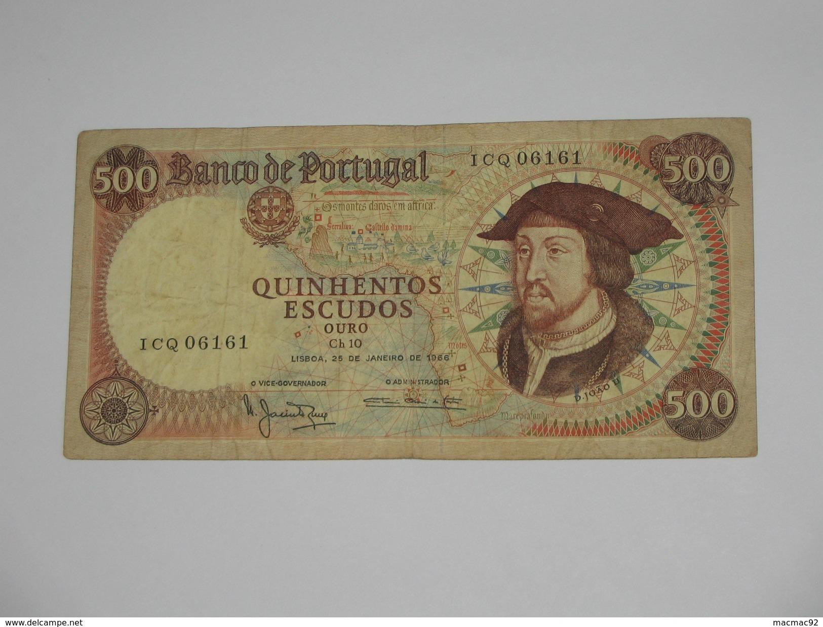 500 Quinhentos Escudos Ouro 1966 - Banco De  PORTUGAL  **** EN ACHAT IMMEDIAT **** - Portugal