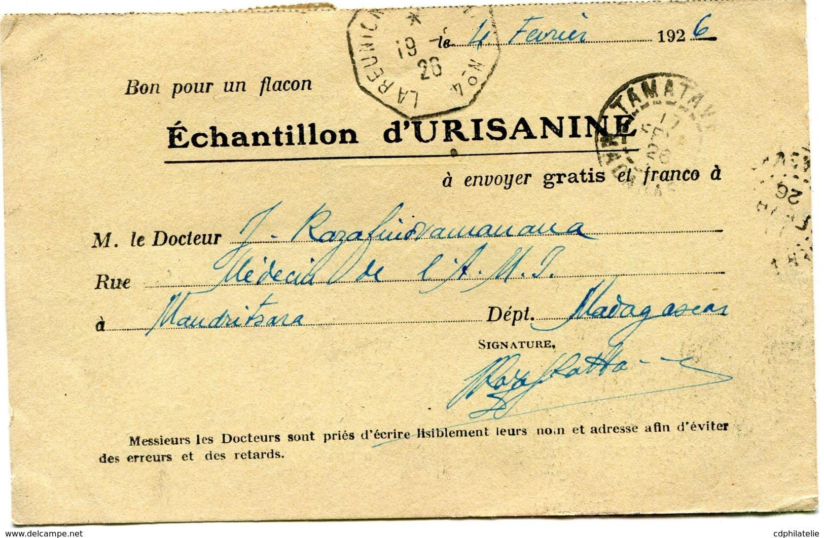 MADAGASCAR CARTE POSTALE BON POUR UN FLACON ECHANTILLON D'URISANINE DEPART MANDRITSARA 6 FEVR 26  POUR LA FRANCE - Lettres & Documents